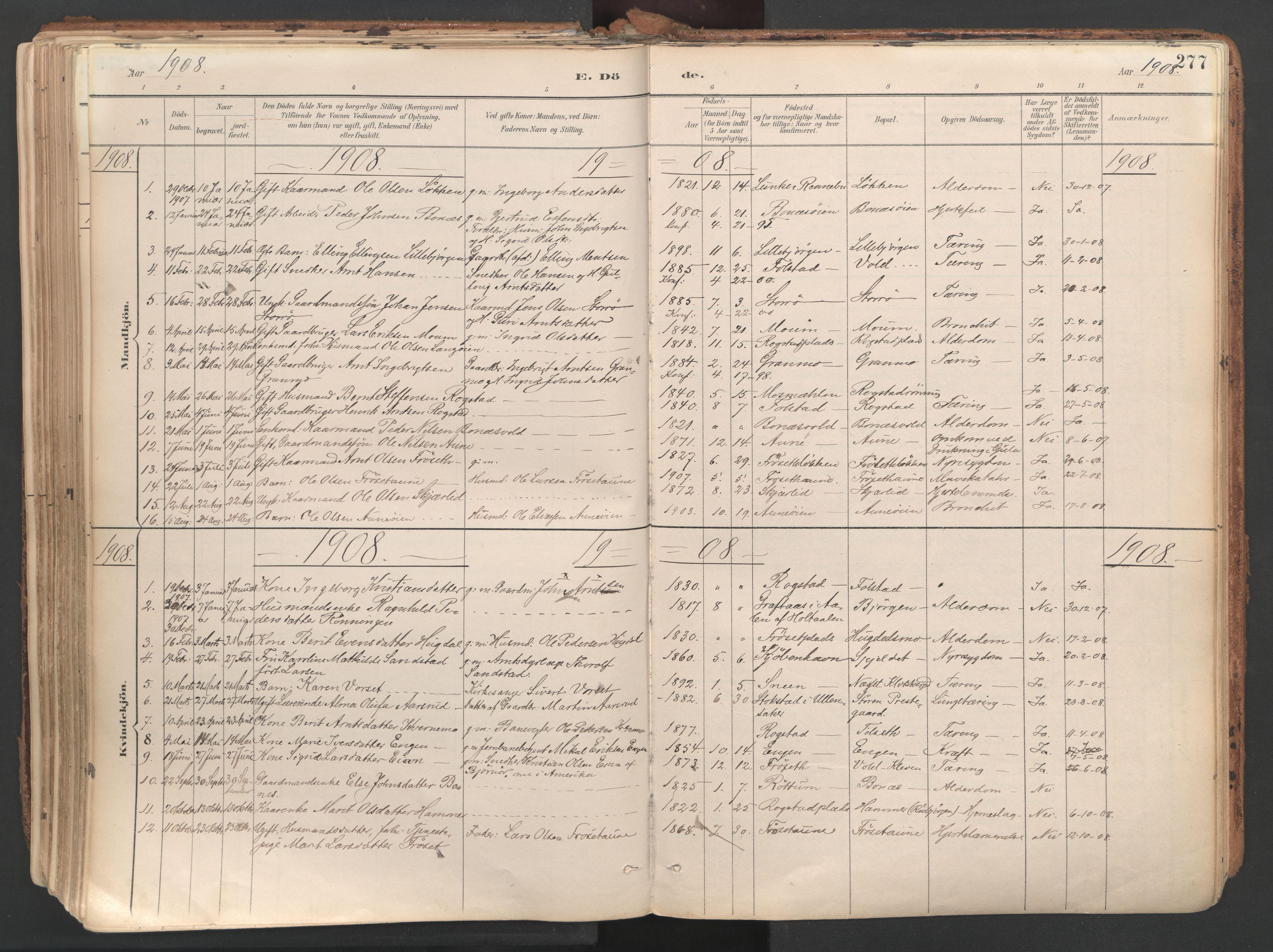 SAT, Ministerialprotokoller, klokkerbøker og fødselsregistre - Sør-Trøndelag, 687/L1004: Ministerialbok nr. 687A10, 1891-1923, s. 277