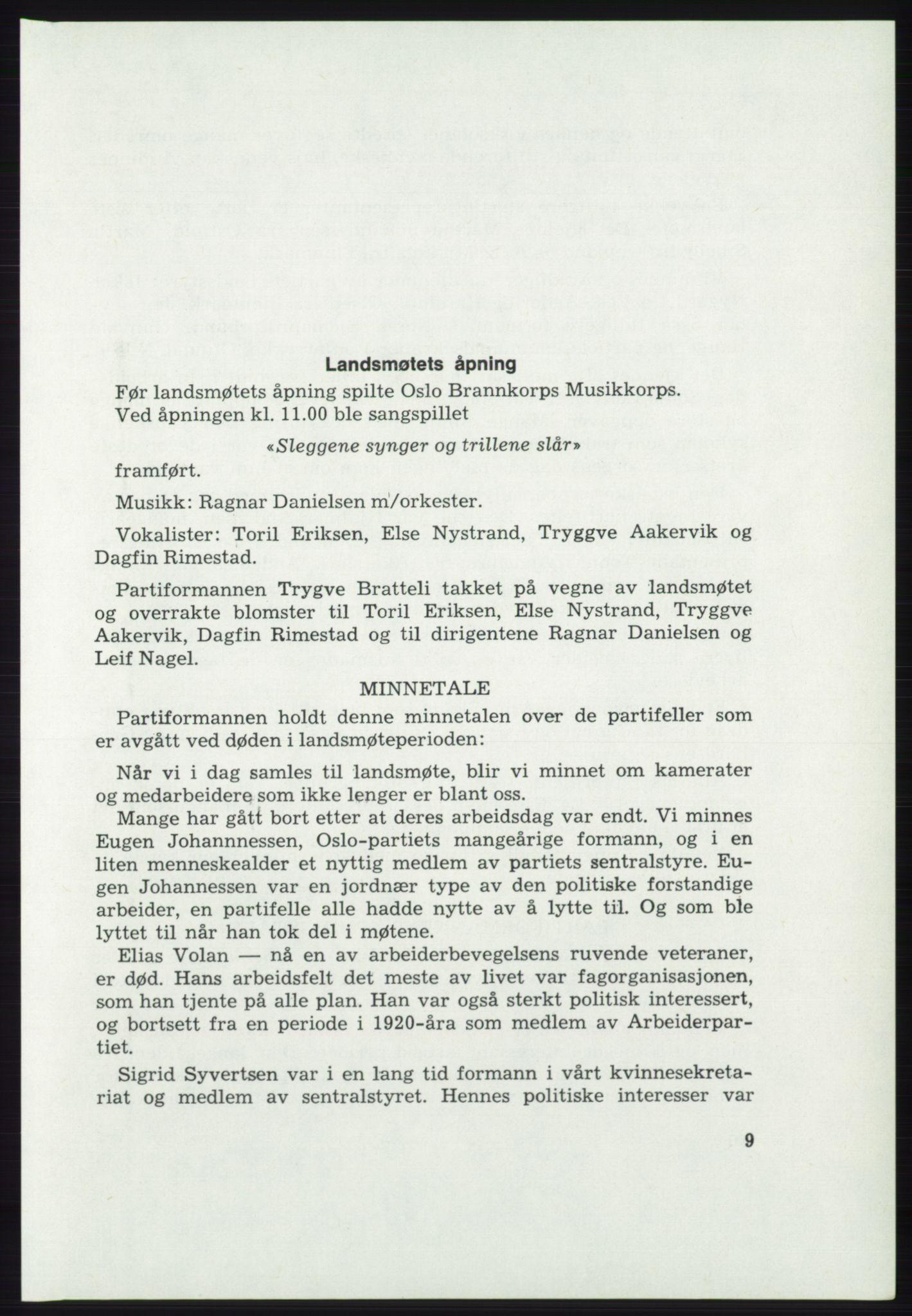 AAB, Det norske Arbeiderparti - publikasjoner, -/-: Protokoll over forhandlingene på det 46. ordinære landsmøte 20.-23. april 1975, 1975, s. 9