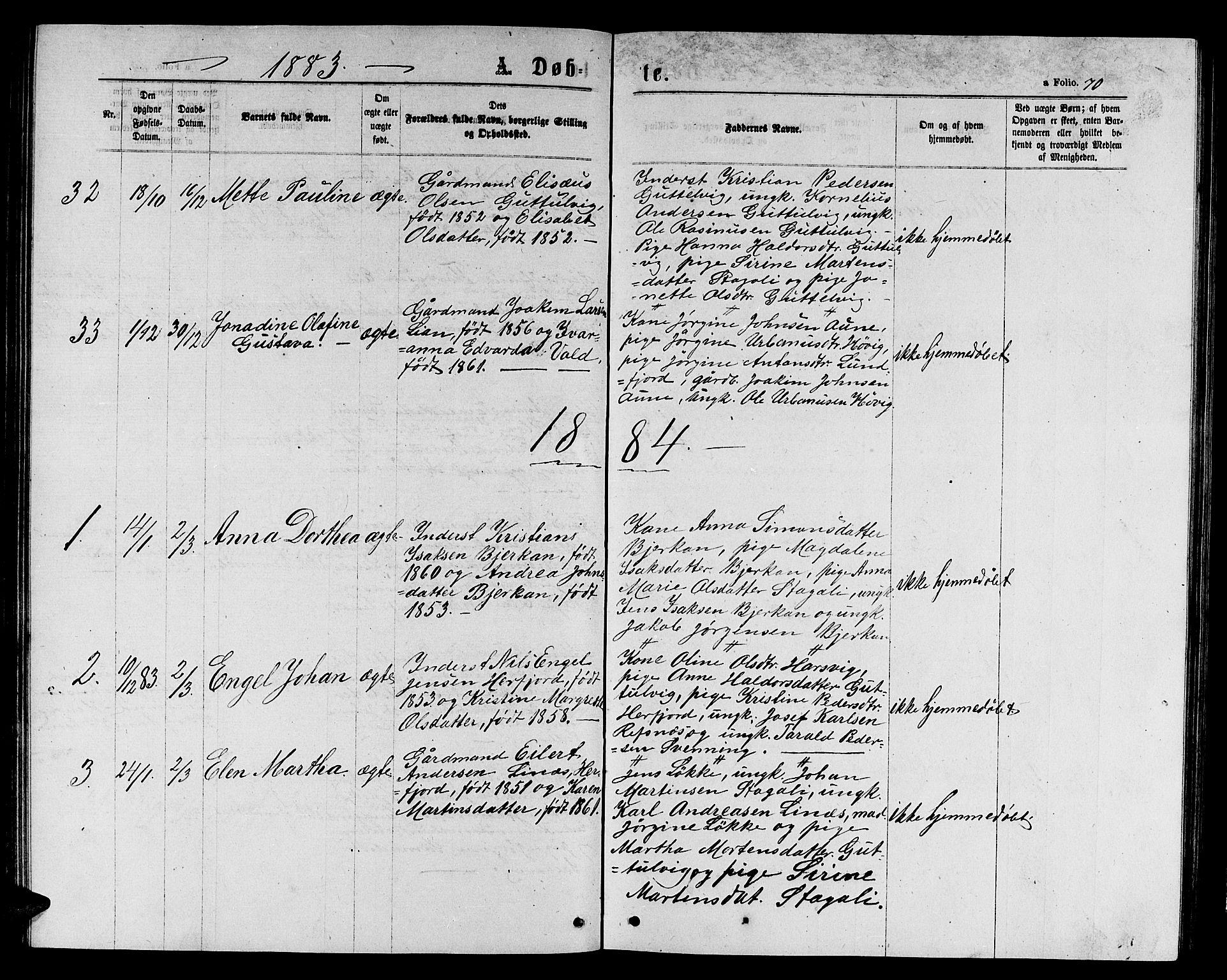 SAT, Ministerialprotokoller, klokkerbøker og fødselsregistre - Sør-Trøndelag, 656/L0695: Klokkerbok nr. 656C01, 1867-1889, s. 70