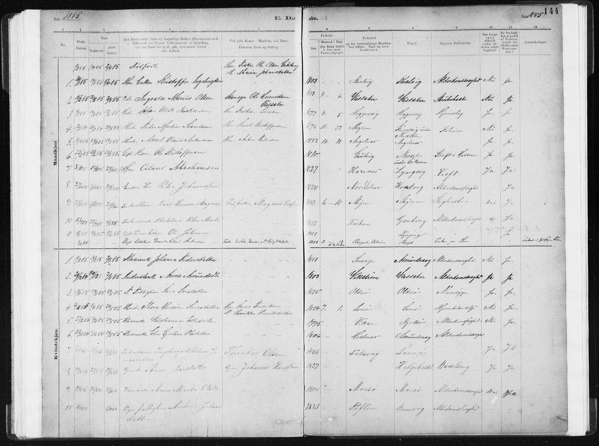 SAT, Ministerialprotokoller, klokkerbøker og fødselsregistre - Sør-Trøndelag, 634/L0533: Ministerialbok nr. 634A09, 1882-1901, s. 144