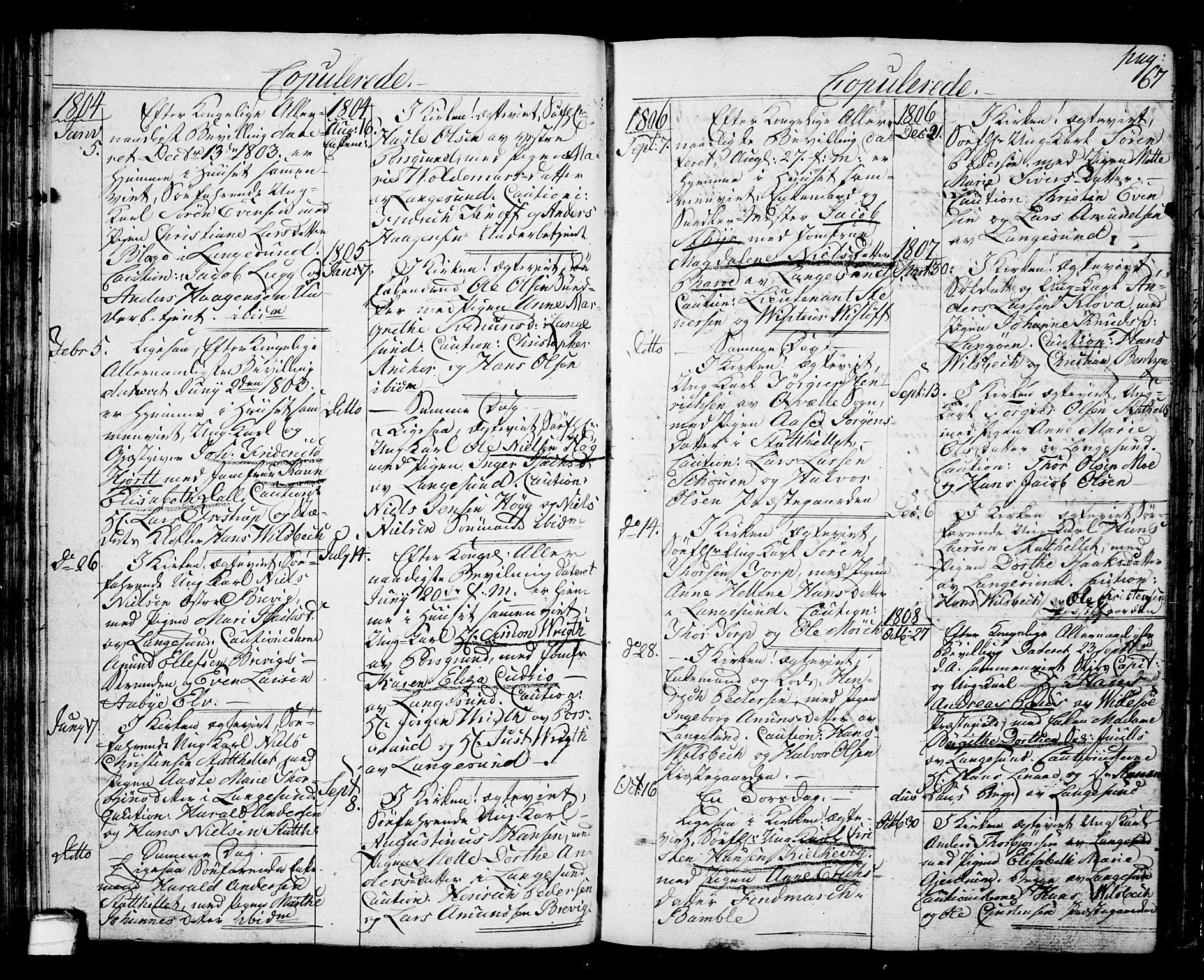 SAKO, Langesund kirkebøker, G/Ga/L0002: Klokkerbok nr. 2, 1801-1815, s. 67
