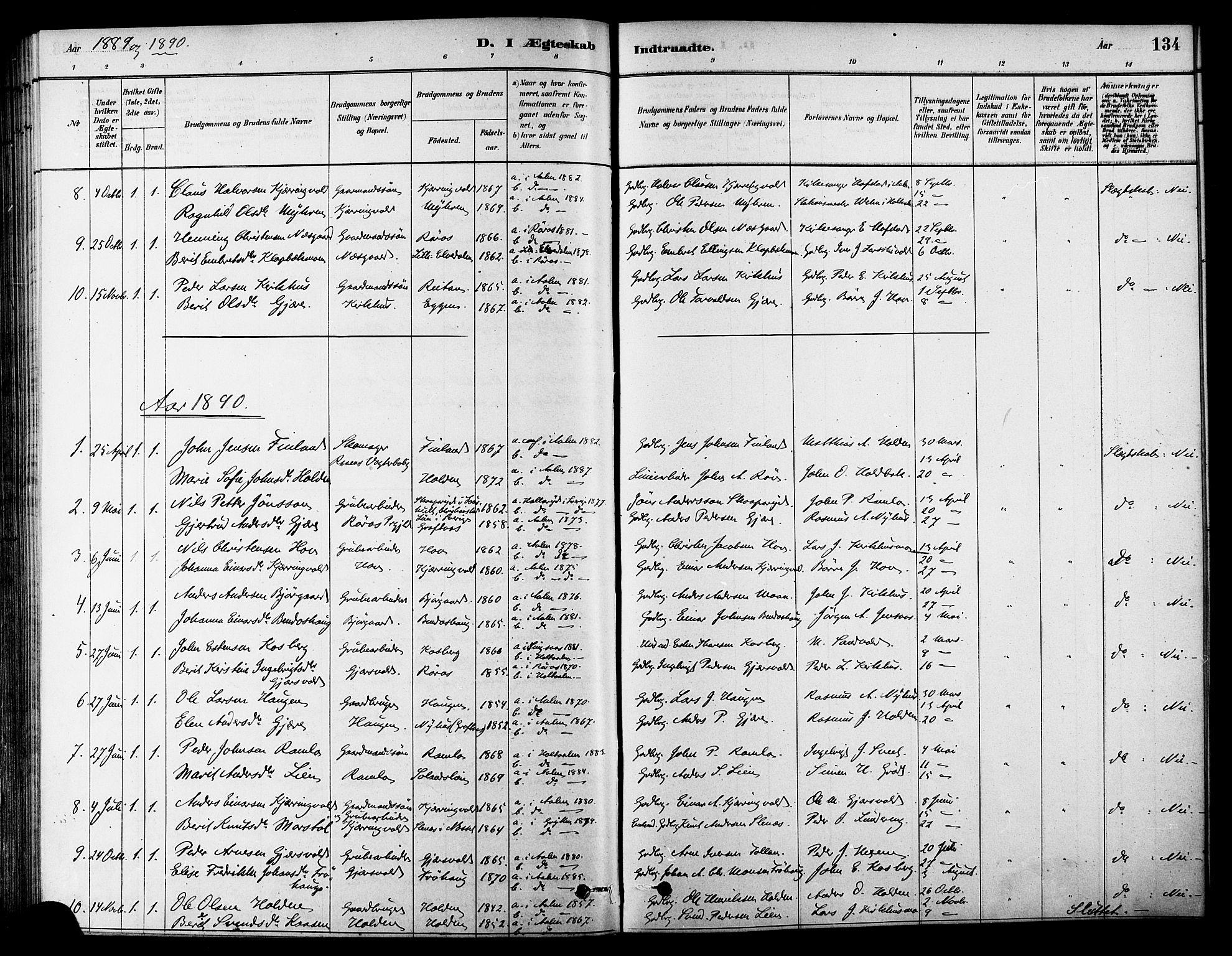 SAT, Ministerialprotokoller, klokkerbøker og fødselsregistre - Sør-Trøndelag, 686/L0983: Ministerialbok nr. 686A01, 1879-1890, s. 134