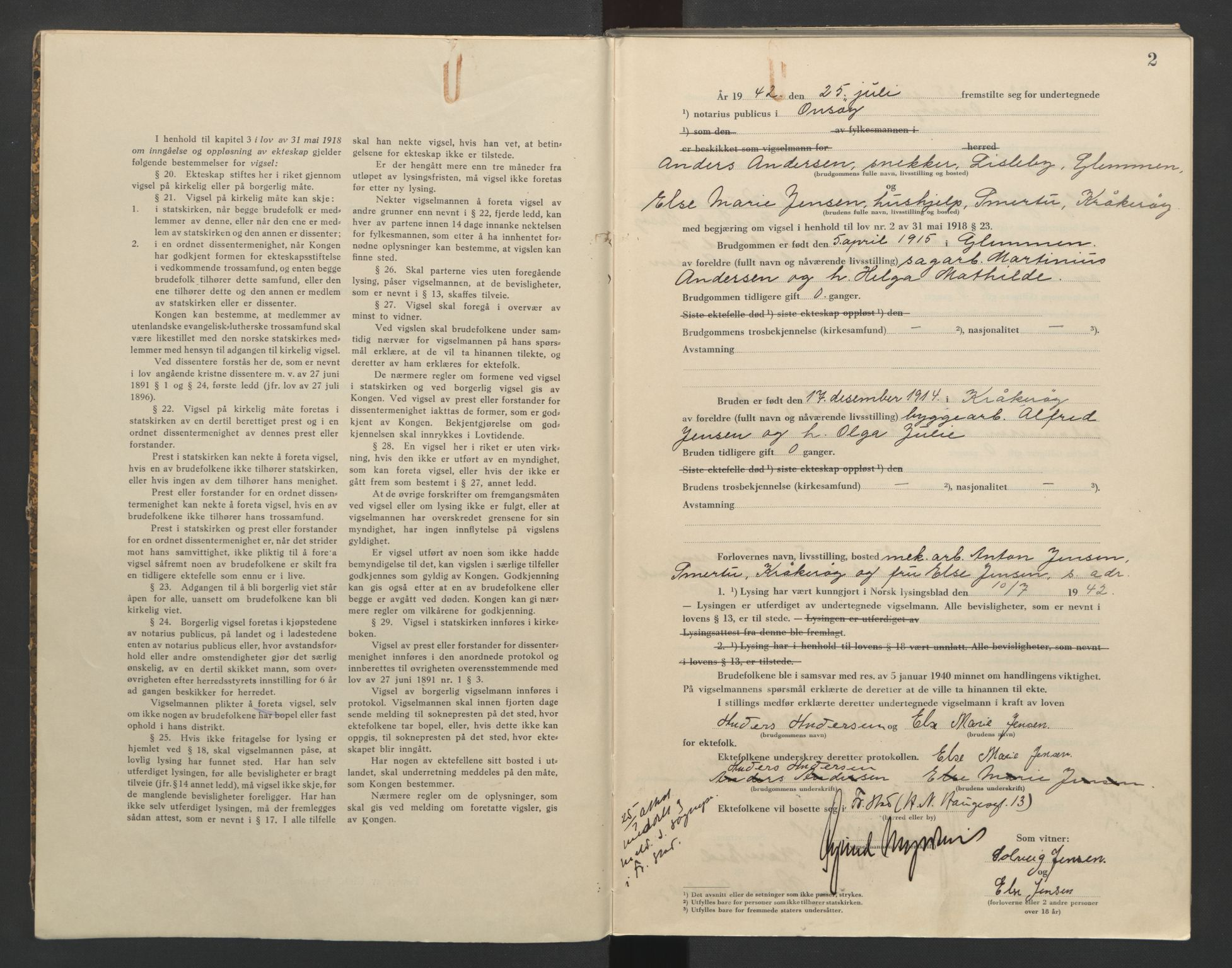 SAO, Onsøy sorenskriveri, L/La/L0002: Vigselsbok, 1942-1943, s. 2
