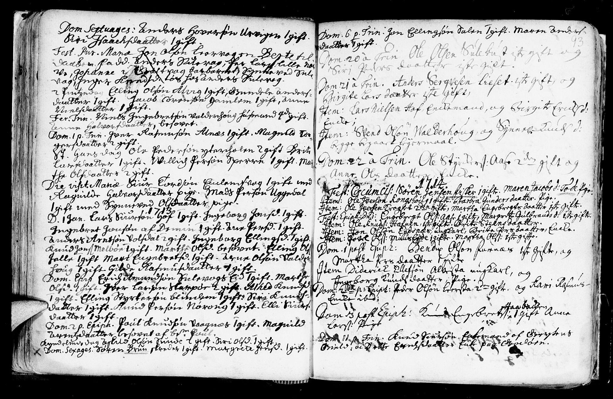 SAT, Ministerialprotokoller, klokkerbøker og fødselsregistre - Møre og Romsdal, 528/L0390: Ministerialbok nr. 528A01, 1698-1739, s. 92-93