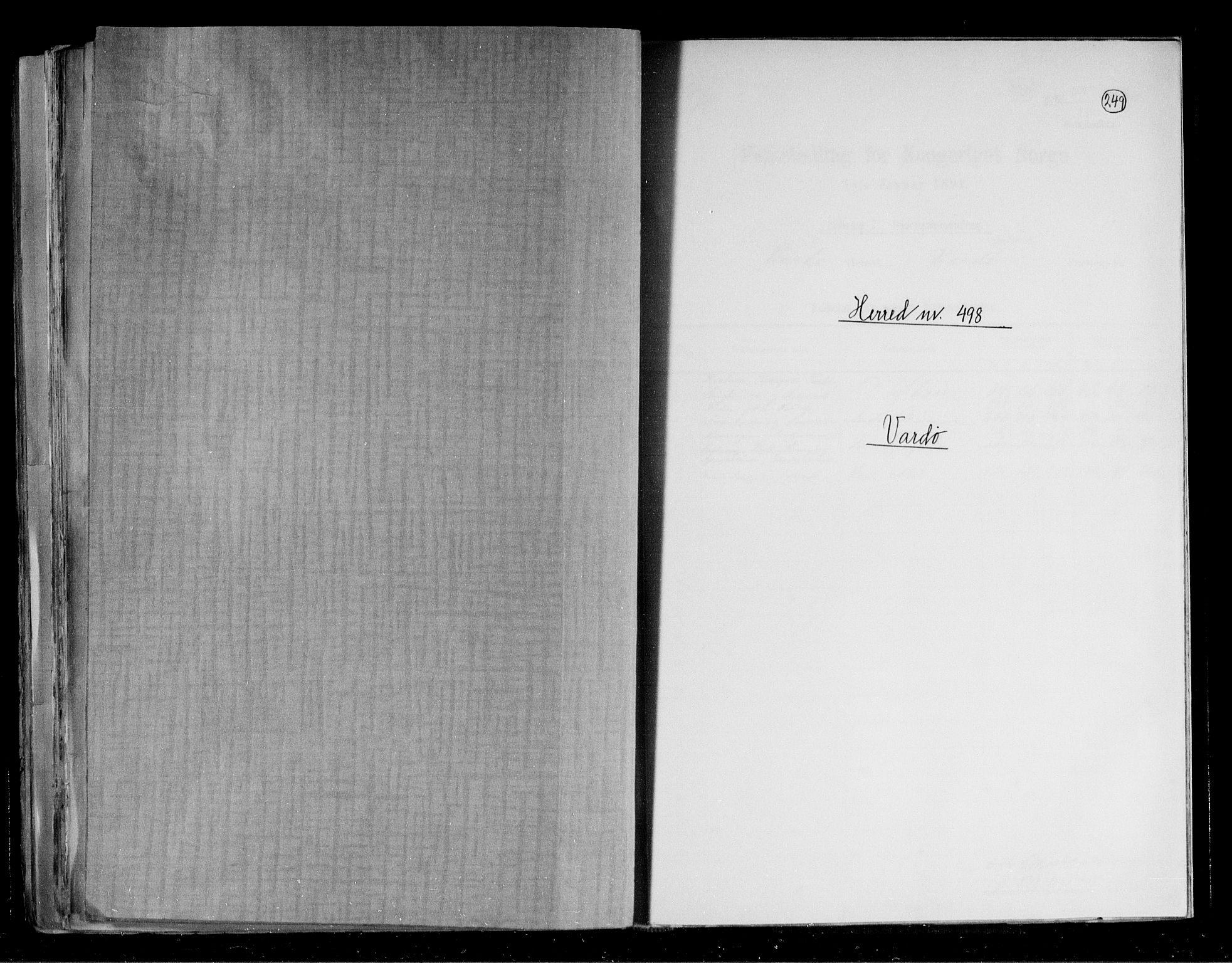 RA, Folketelling 1891 for 2028 Vardø herred, 1891, s. 1