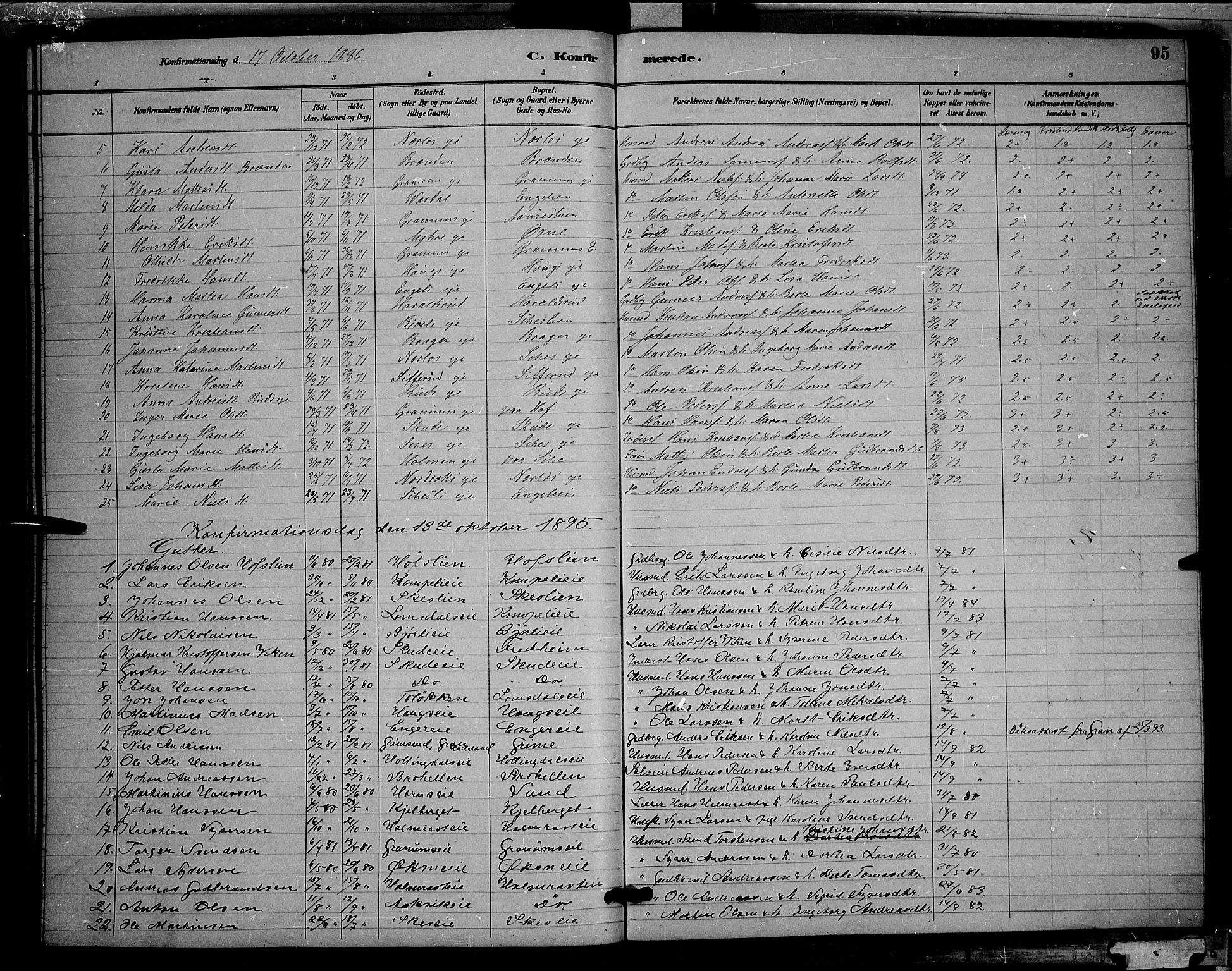 SAH, Søndre Land prestekontor, L/L0002: Klokkerbok nr. 2, 1884-1900, s. 95