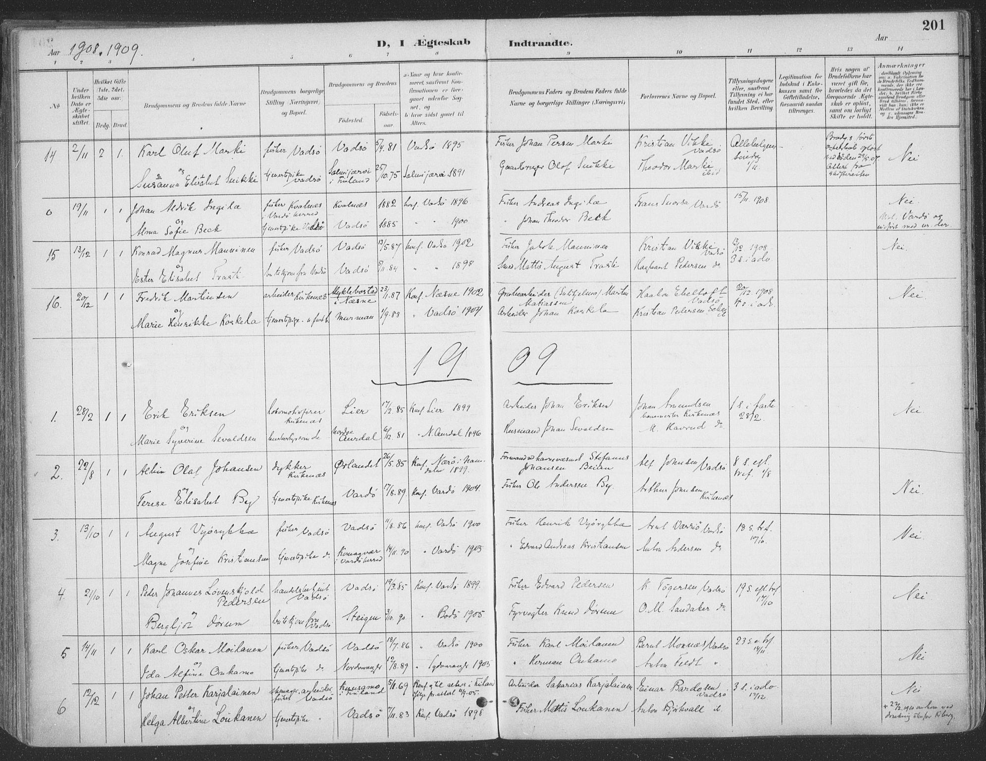 SATØ, Vadsø sokneprestkontor, H/Ha/L0007kirke: Ministerialbok nr. 7, 1896-1916, s. 201