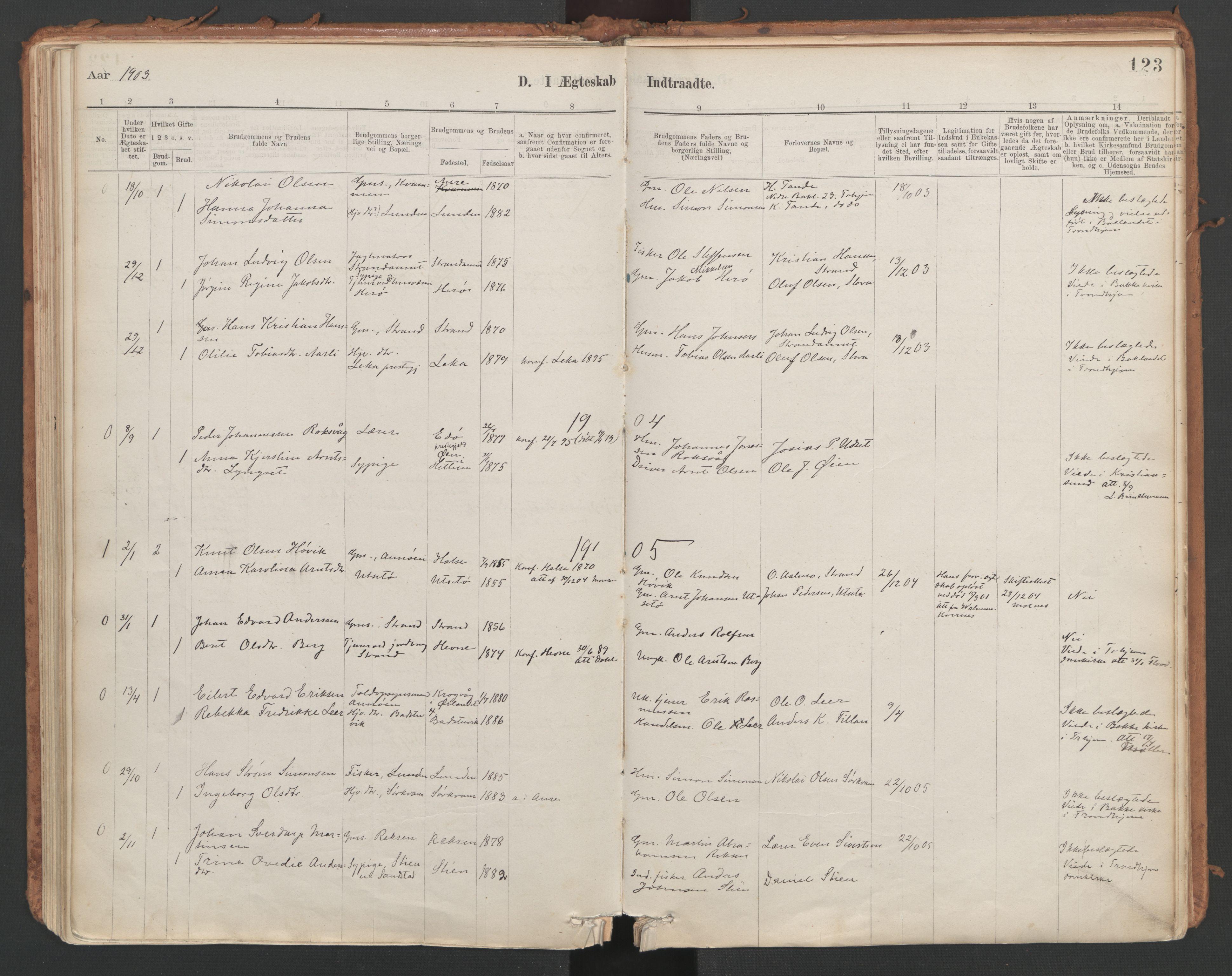 SAT, Ministerialprotokoller, klokkerbøker og fødselsregistre - Sør-Trøndelag, 639/L0572: Ministerialbok nr. 639A01, 1890-1920, s. 123