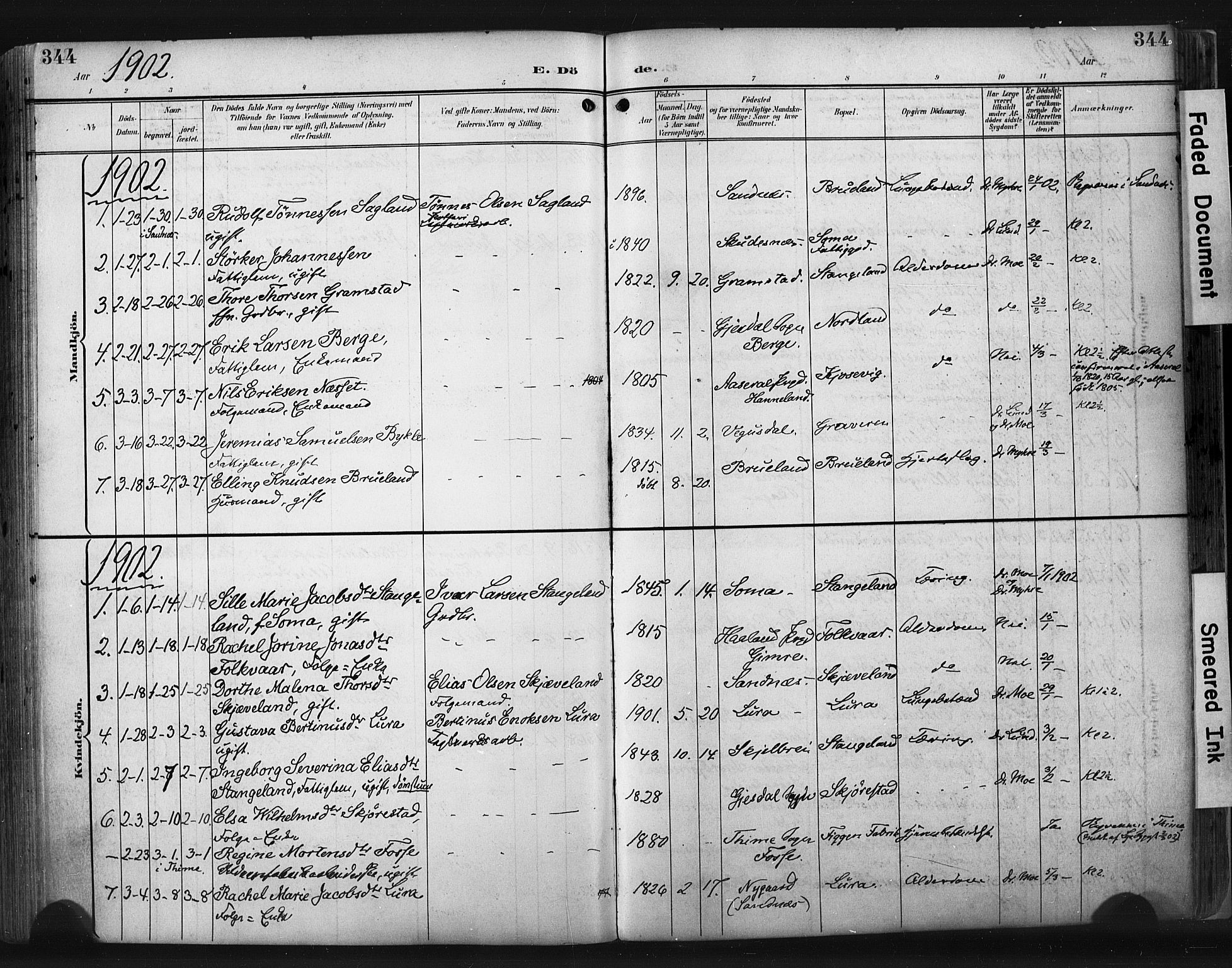 SAST, Høyland sokneprestkontor, 30BA/L0015: Ministerialbok nr. A 14, 1899-1911, s. 344