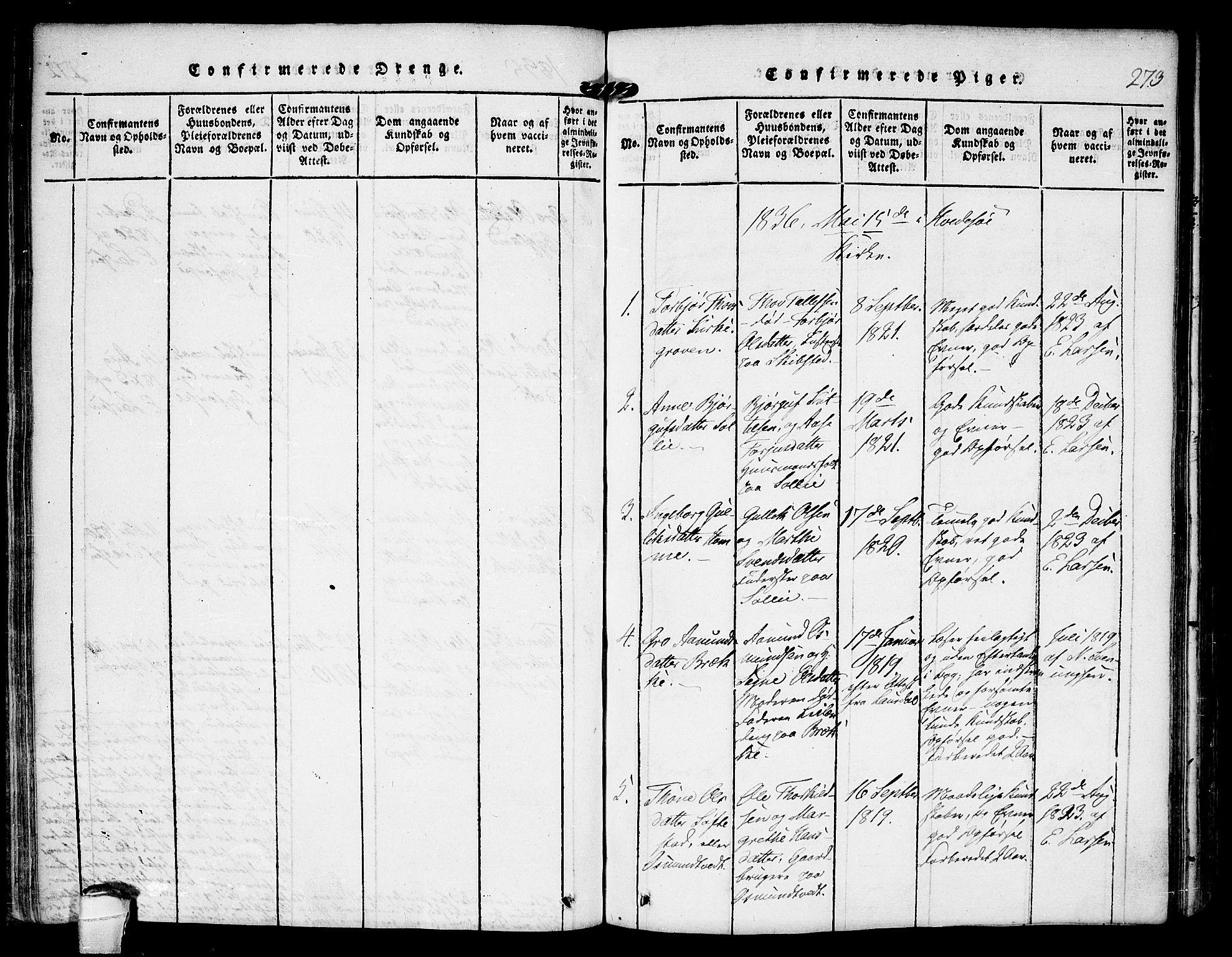 SAKO, Kviteseid kirkebøker, F/Fb/L0001: Ministerialbok nr. II 1, 1815-1836, s. 273