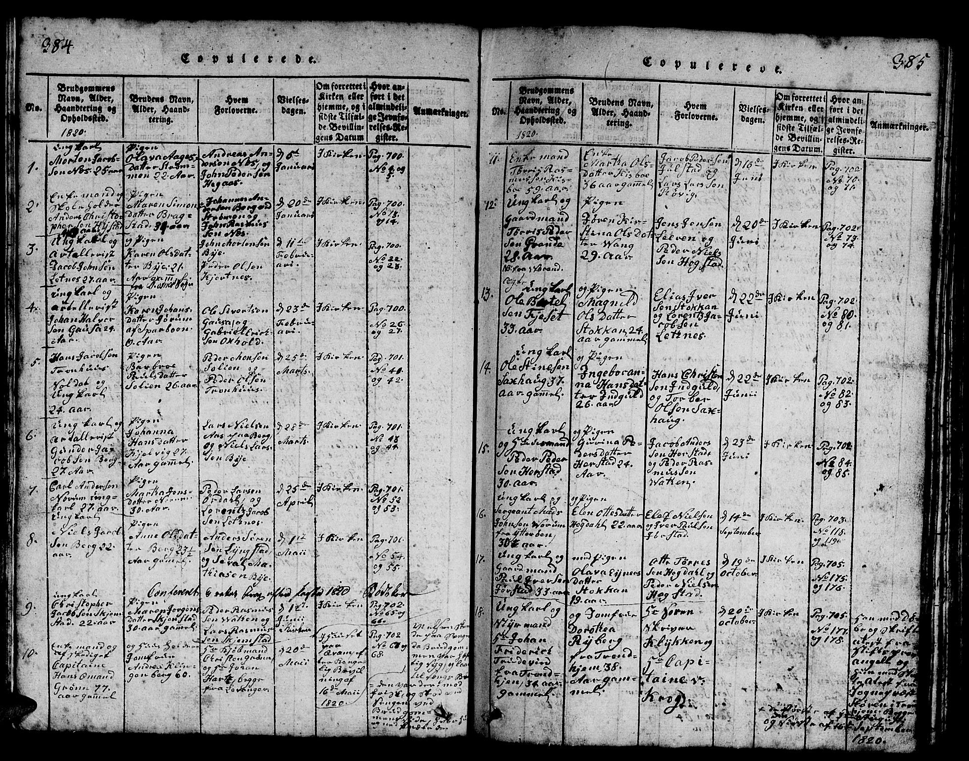 SAT, Ministerialprotokoller, klokkerbøker og fødselsregistre - Nord-Trøndelag, 730/L0298: Klokkerbok nr. 730C01, 1816-1849, s. 384-385