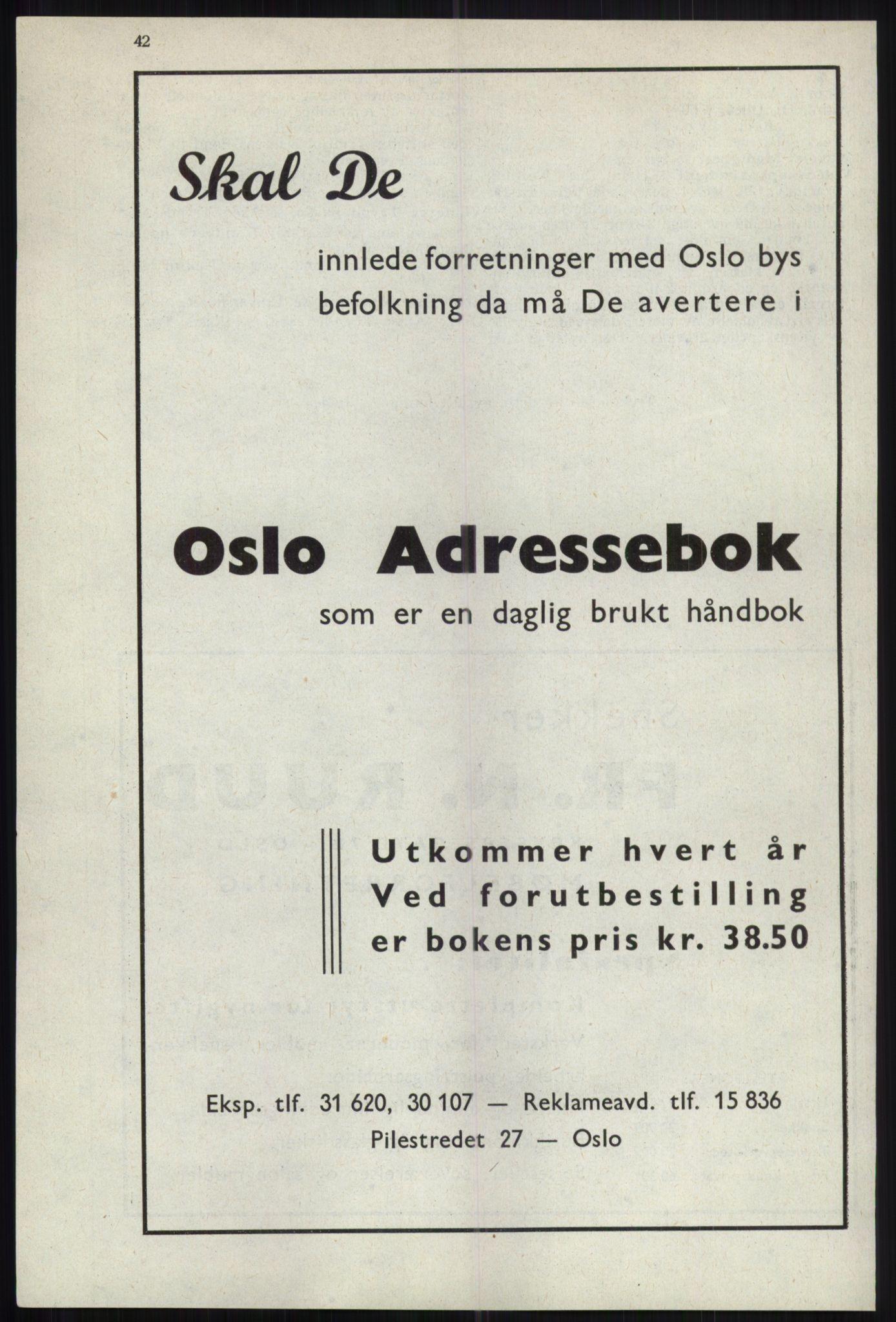 RA, Oslo adressebok (publikasjon)*, 1941, s. 42