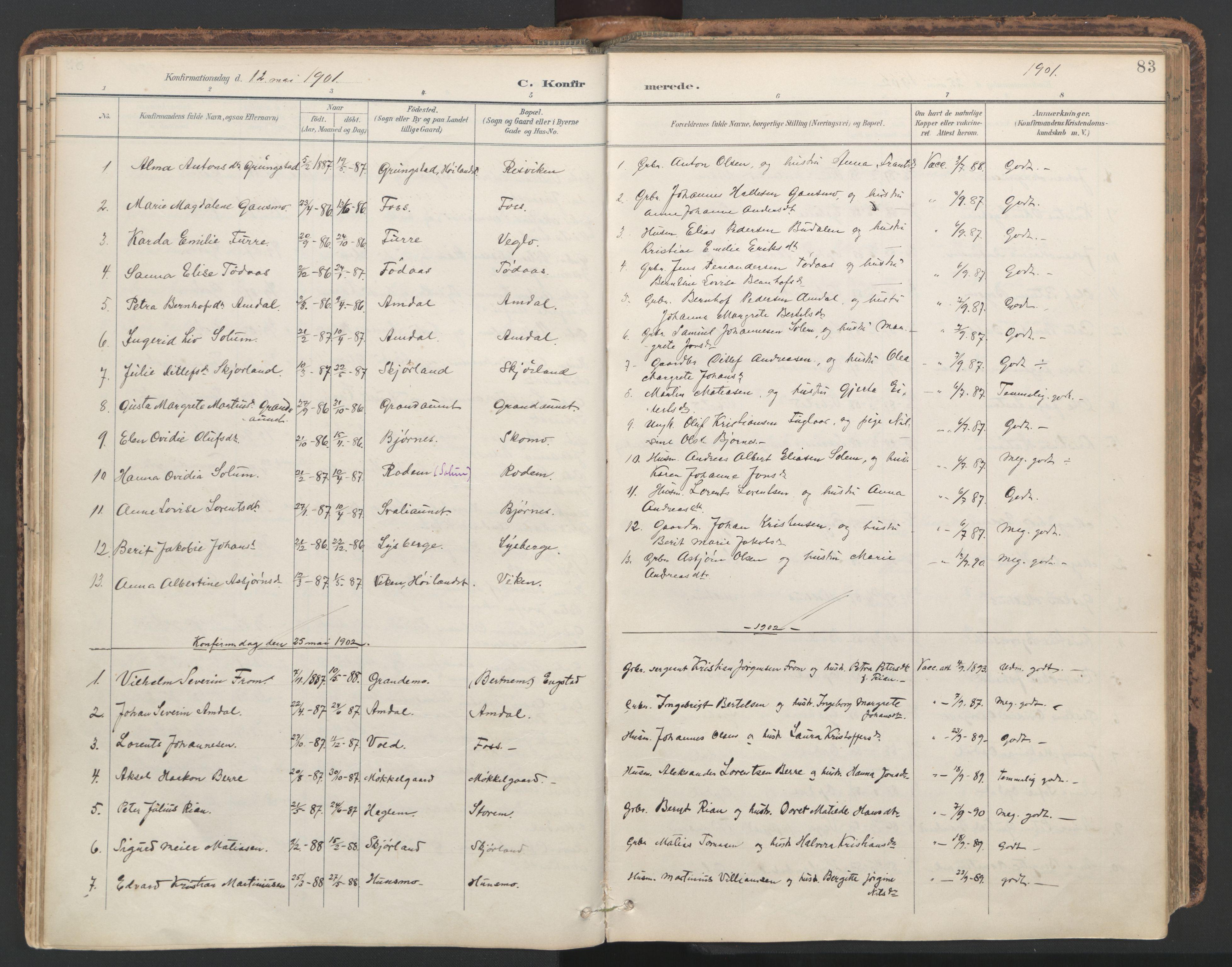 SAT, Ministerialprotokoller, klokkerbøker og fødselsregistre - Nord-Trøndelag, 764/L0556: Ministerialbok nr. 764A11, 1897-1924, s. 83