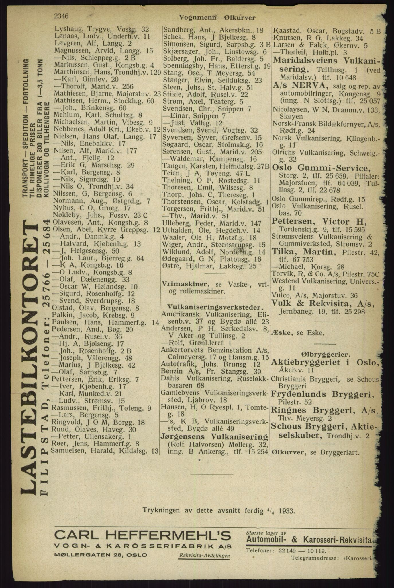 RA, Oslo adressebok (publikasjon)*, 1933, s. 2346