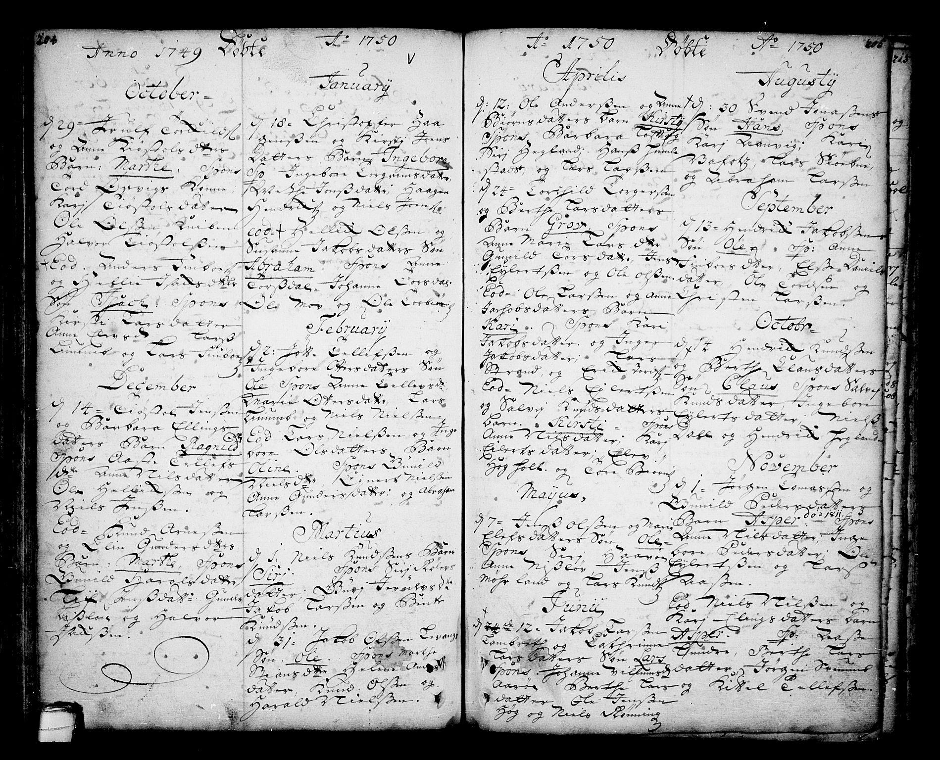SAKO, Sannidal kirkebøker, F/Fa/L0001: Ministerialbok nr. 1, 1702-1766, s. 204-205