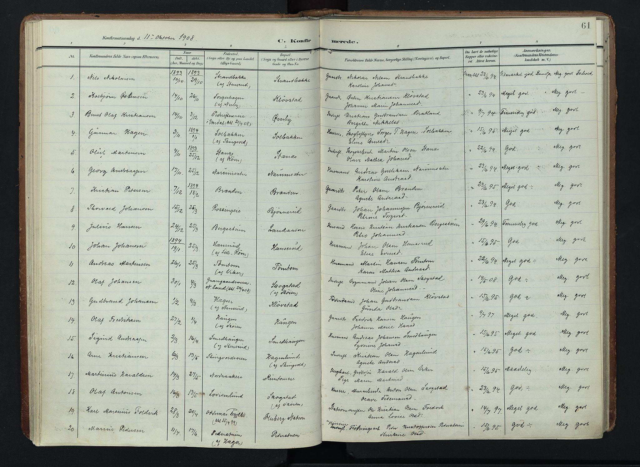 SAH, Søndre Land prestekontor, K/L0005: Ministerialbok nr. 5, 1905-1914, s. 61