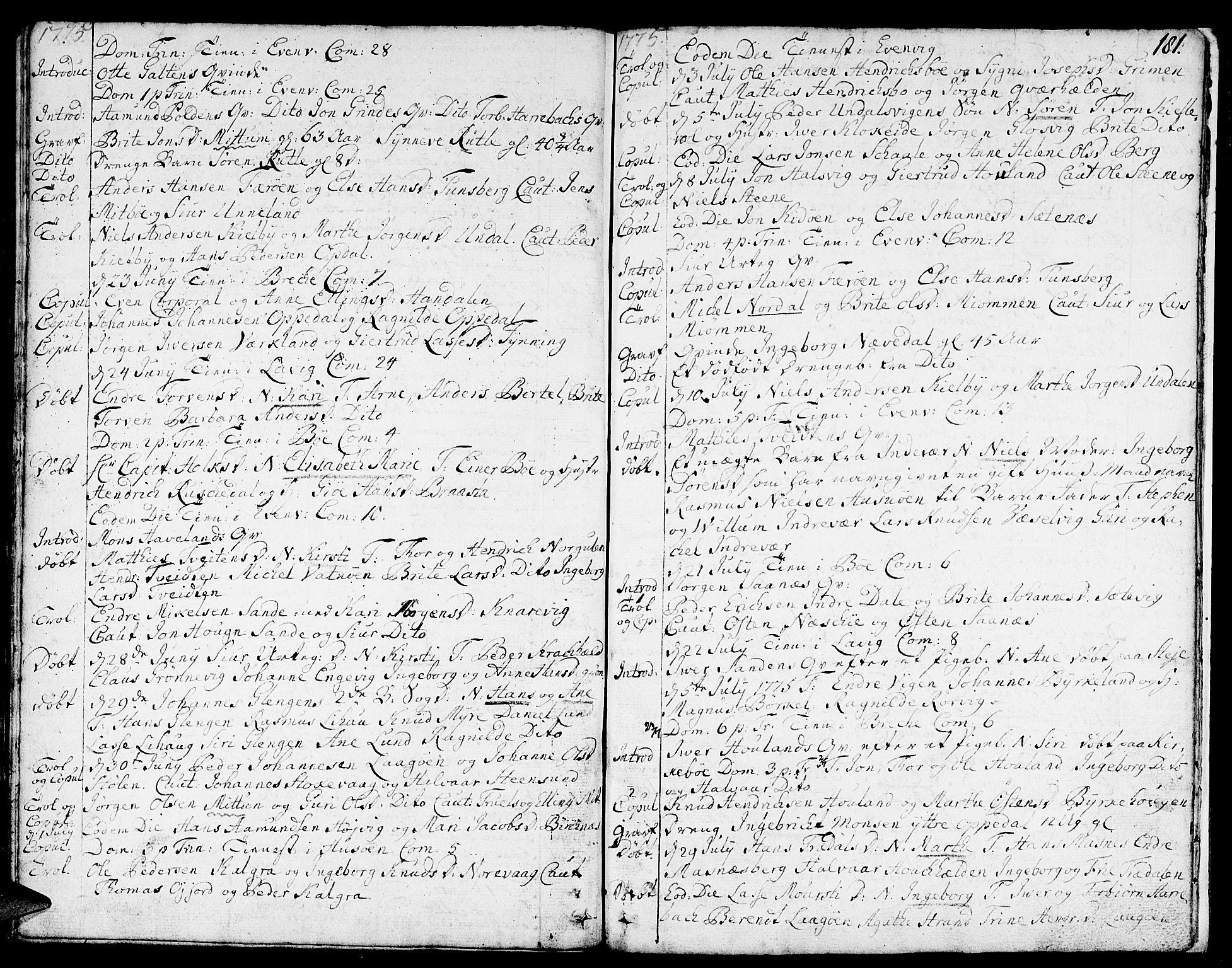 SAB, Gulen sokneprestembete, Ministerialbok nr. A 12, 1749-1776, s. 181