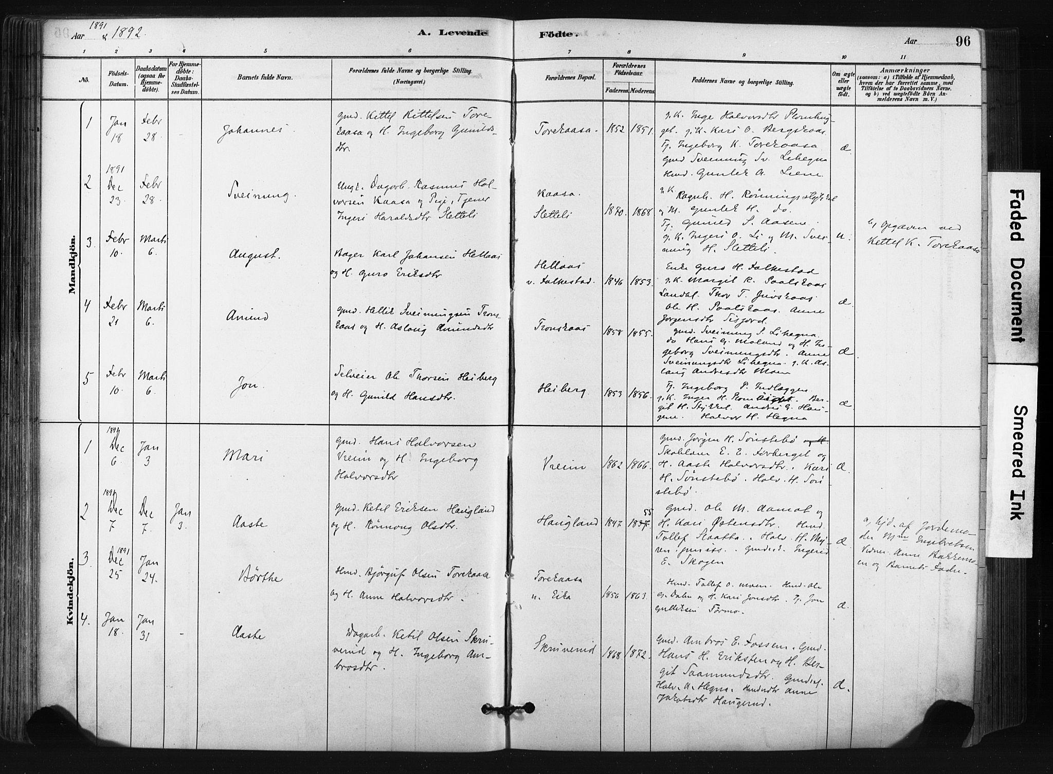 SAKO, Bø kirkebøker, F/Fa/L0010: Ministerialbok nr. 10, 1880-1892, s. 96