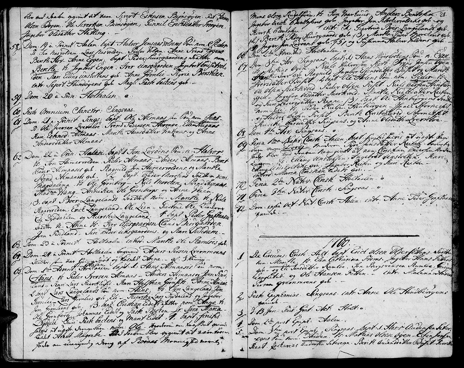 SAT, Ministerialprotokoller, klokkerbøker og fødselsregistre - Sør-Trøndelag, 685/L0952: Ministerialbok nr. 685A01, 1745-1804, s. 28