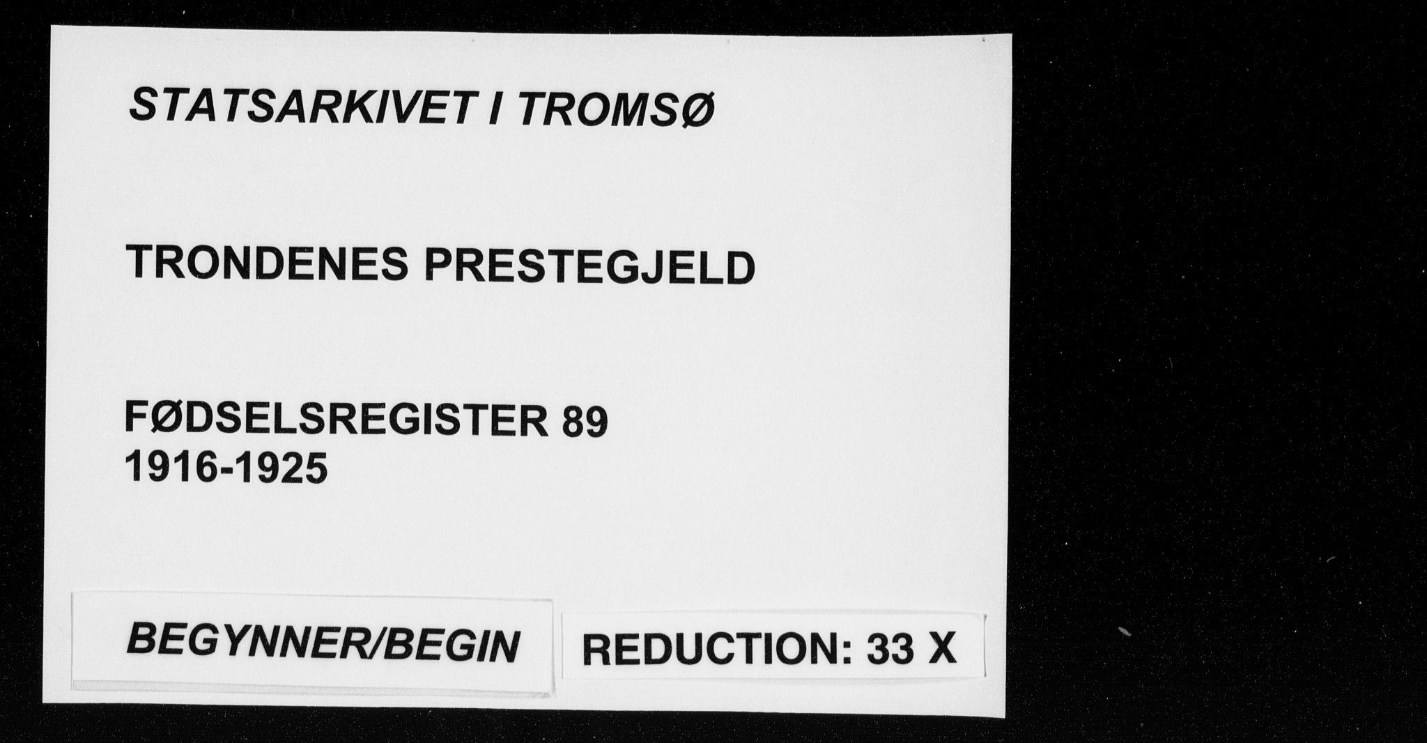 SATØ, Trondenes sokneprestkontor, I/Ia/L0089: Fødselsregister nr. 89, 1916-1925