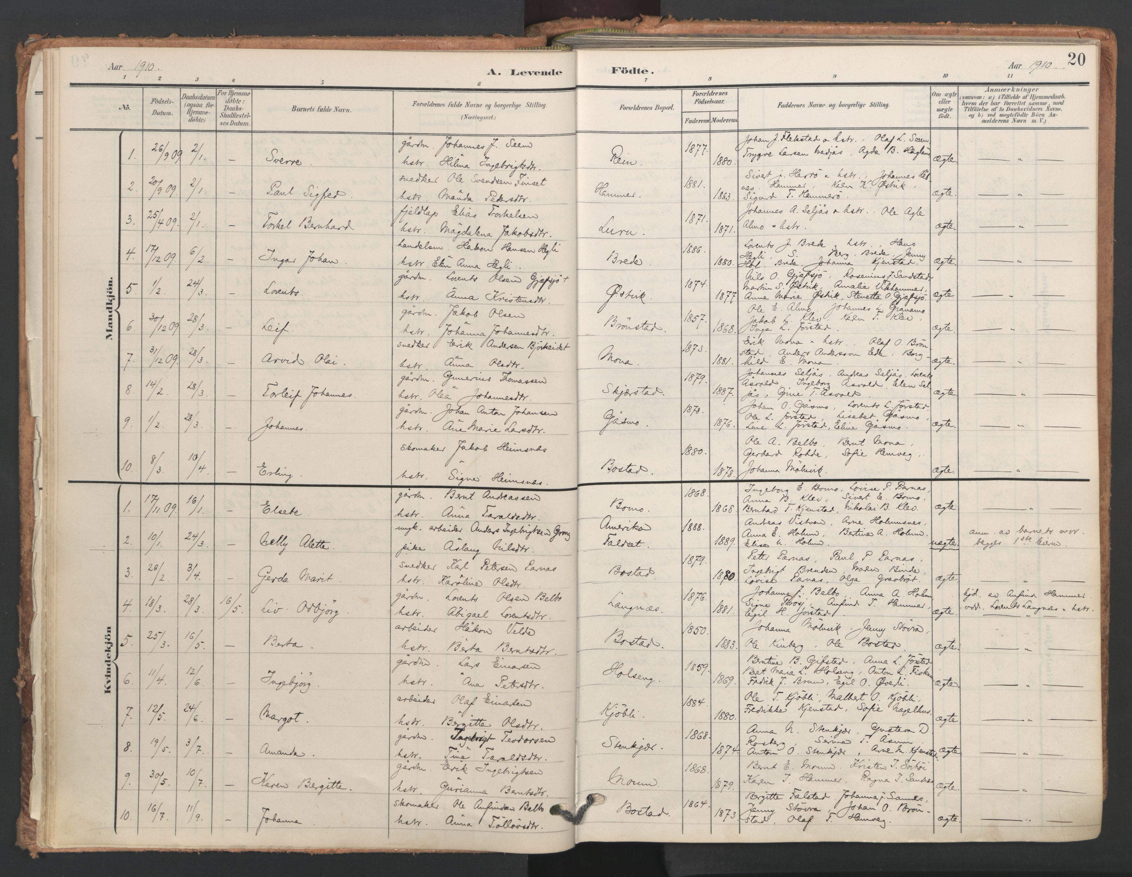 SAT, Ministerialprotokoller, klokkerbøker og fødselsregistre - Nord-Trøndelag, 749/L0477: Ministerialbok nr. 749A11, 1902-1927, s. 20