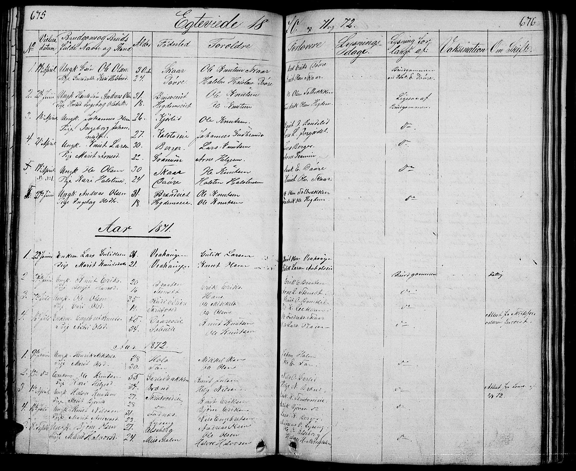 SAH, Nord-Aurdal prestekontor, Klokkerbok nr. 1, 1834-1887, s. 675-676
