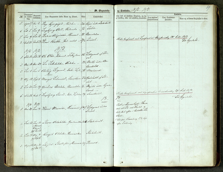 SAKO, Lårdal kirkebøker, G/Ga/L0002: Klokkerbok nr. I 2, 1861-1890, s. 89