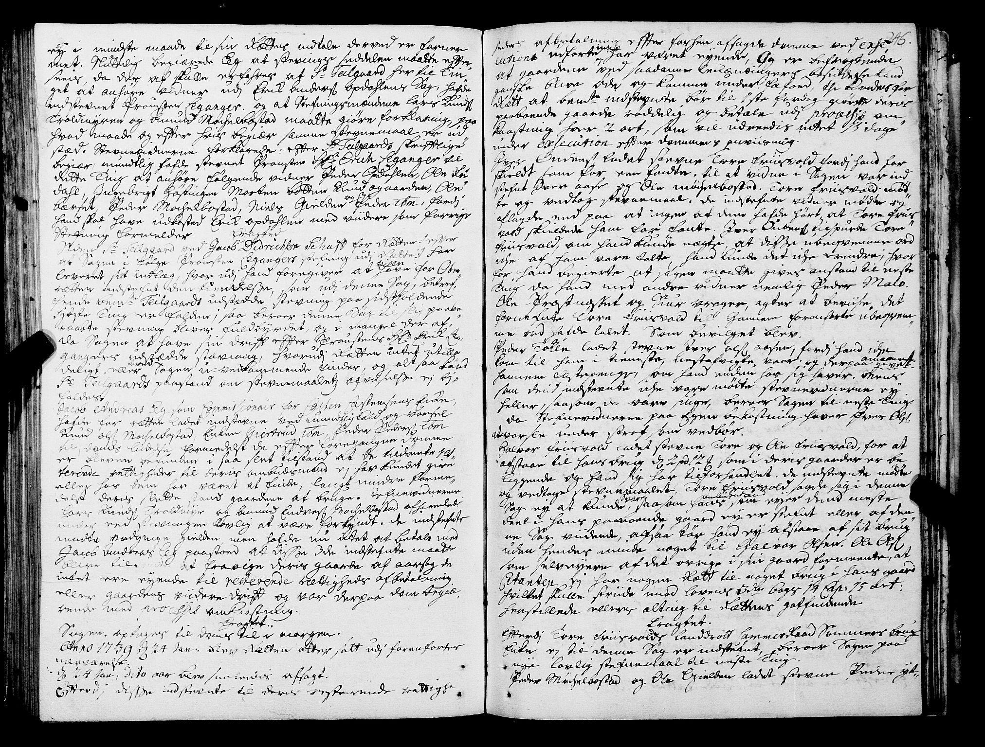 SAT, Romsdal sorenskriveri, 1/1A/L0011: Tingbok, 1732-1740, s. 245b-246a