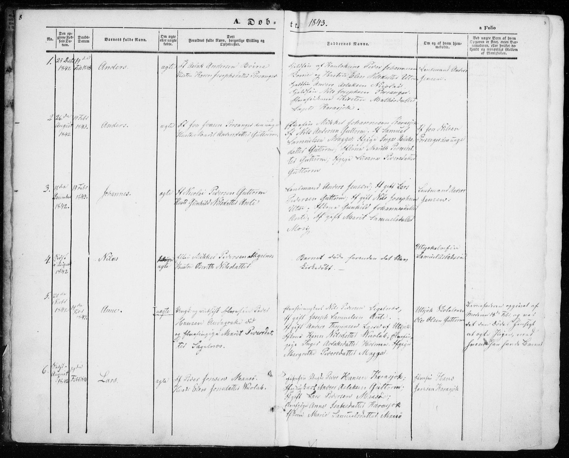 SATØ, Kistrand/Porsanger sokneprestembete, H/Ha/L0012.kirke: Ministerialbok nr. 12, 1843-1871, s. 8-9