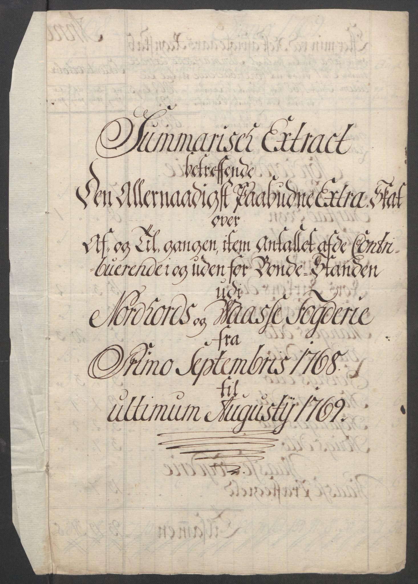 RA, Rentekammeret inntil 1814, Reviderte regnskaper, Fogderegnskap, R51/L3303: Ekstraskatten Nordhordland og Voss, 1762-1772, s. 345