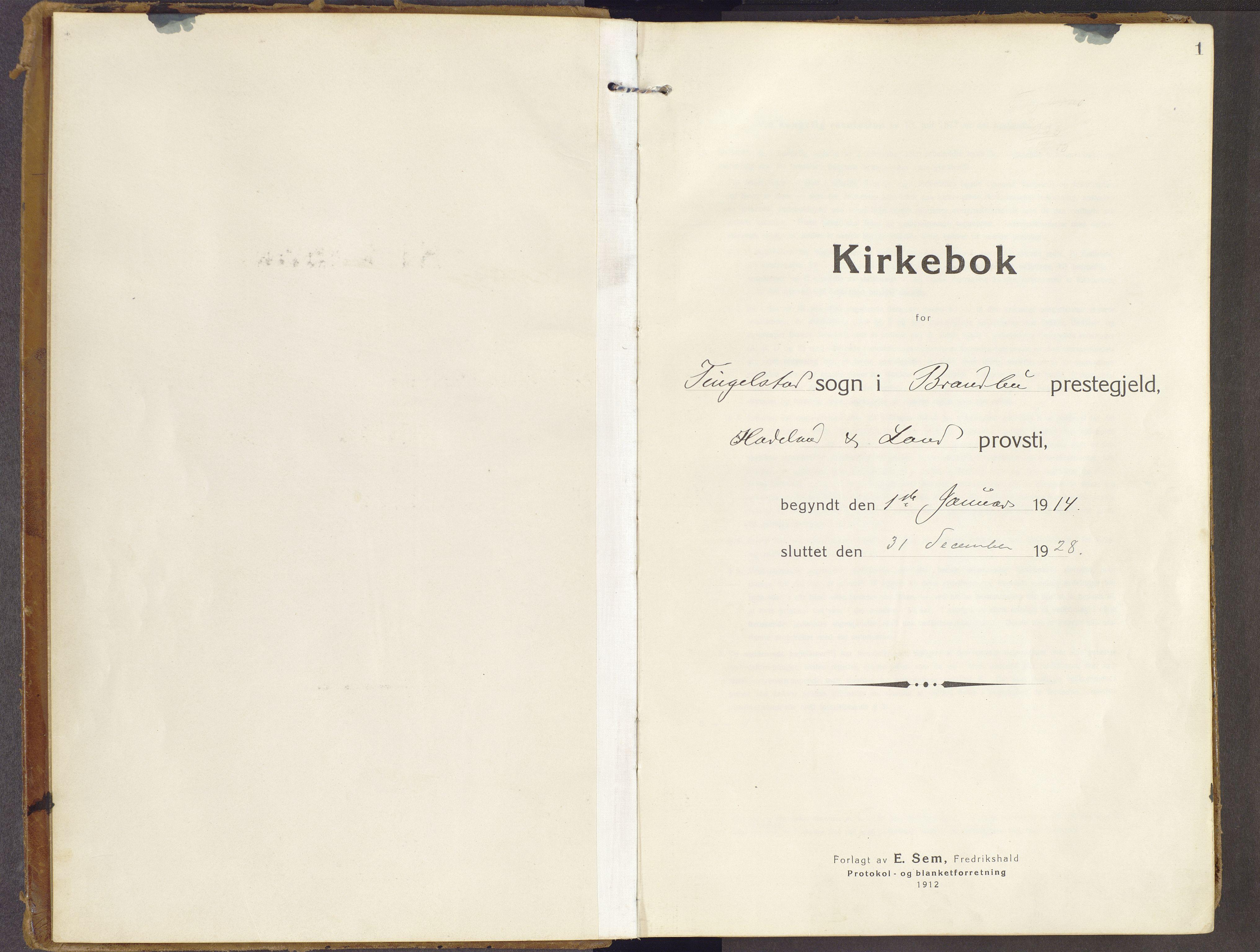 SAH, Brandbu prestekontor, Ministerialbok nr. 3, 1914-1928, s. 1
