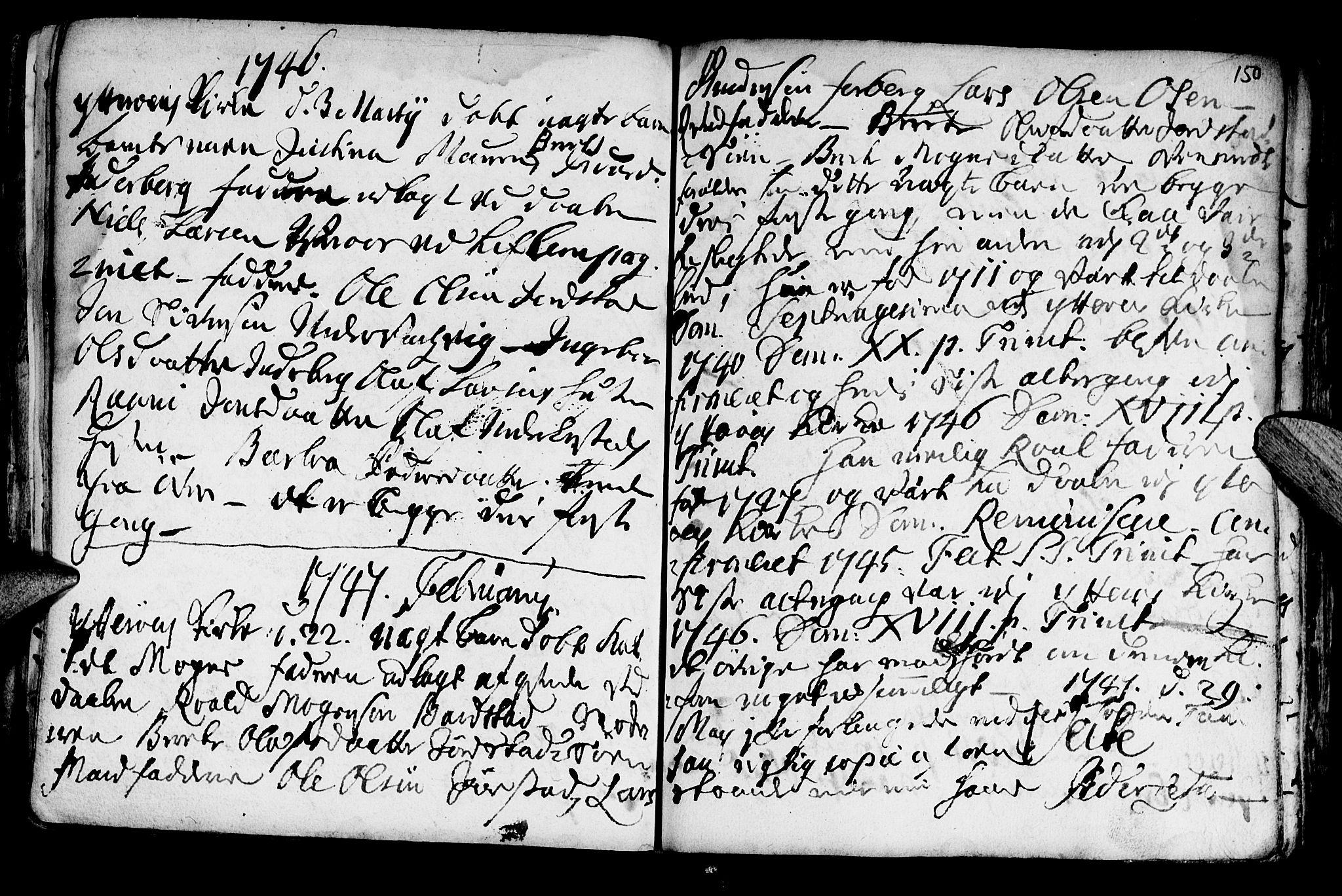 SAT, Ministerialprotokoller, klokkerbøker og fødselsregistre - Nord-Trøndelag, 722/L0215: Ministerialbok nr. 722A02, 1718-1755, s. 150