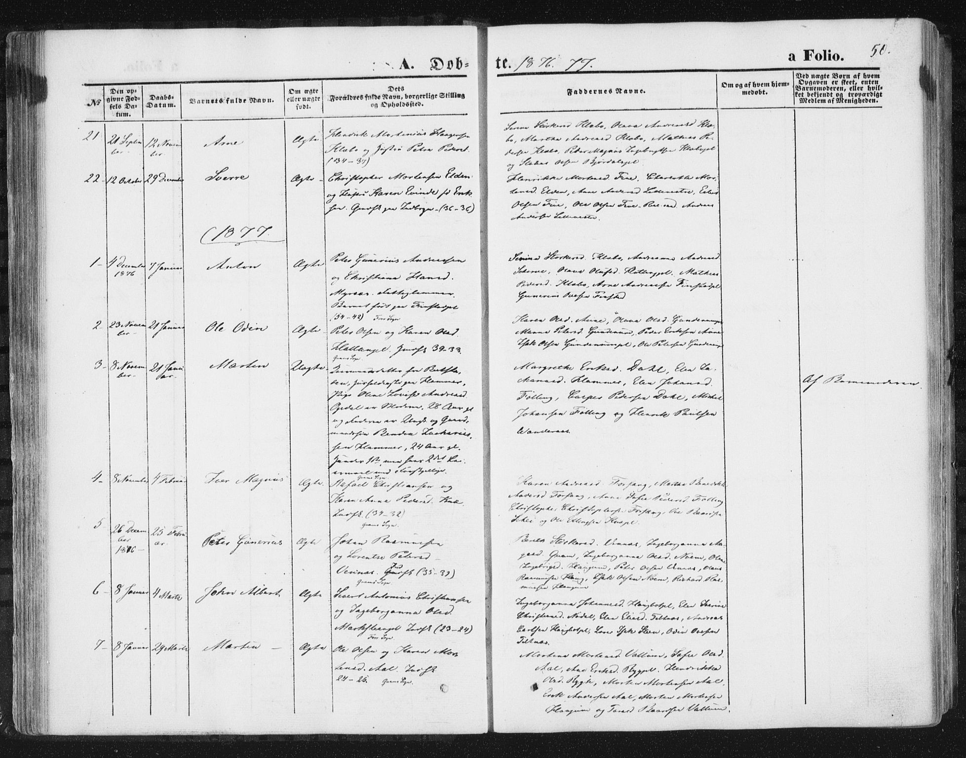 SAT, Ministerialprotokoller, klokkerbøker og fødselsregistre - Nord-Trøndelag, 746/L0447: Ministerialbok nr. 746A06, 1860-1877, s. 50