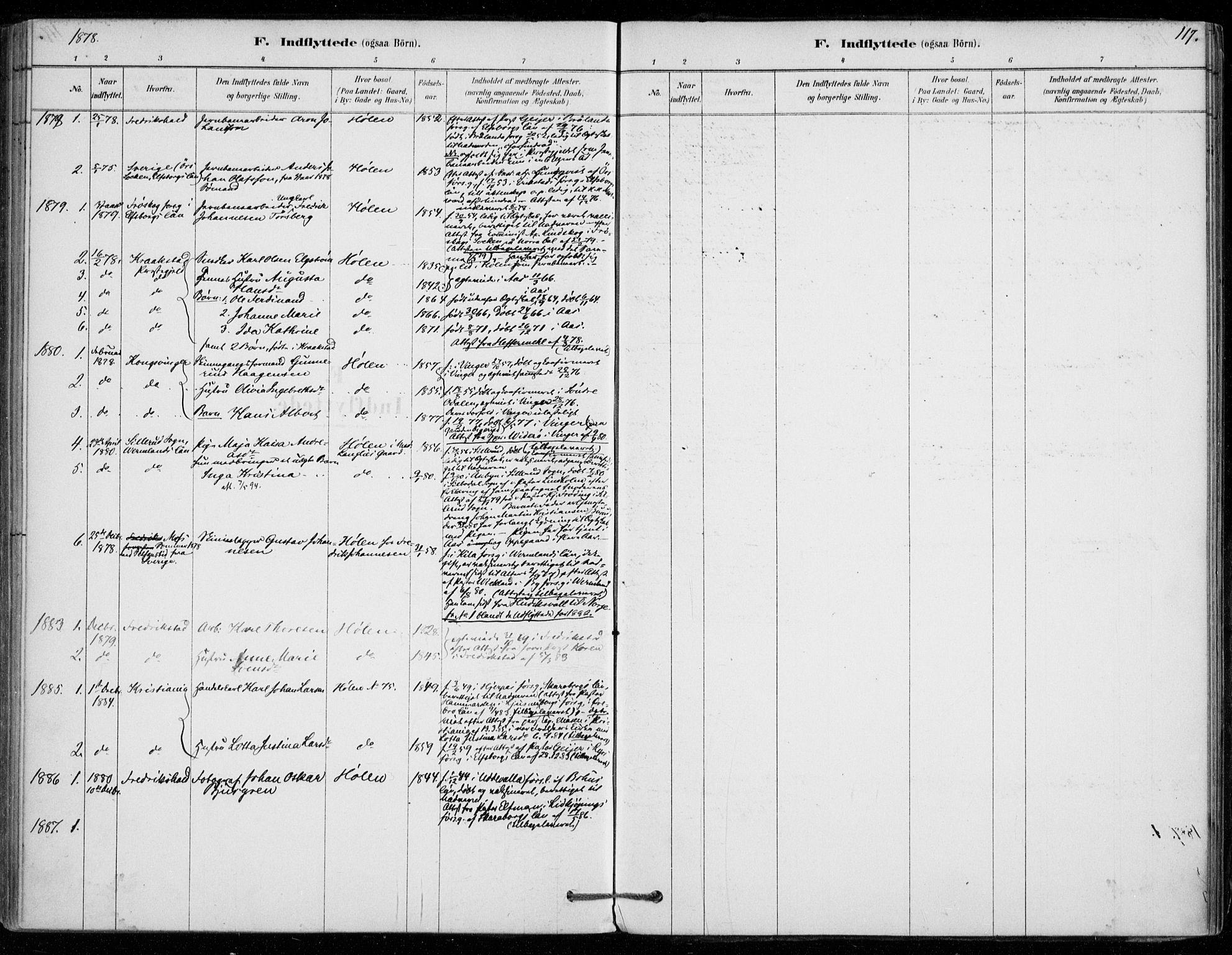 SAO, Vestby prestekontor Kirkebøker, F/Fe/L0001: Ministerialbok nr. V 1, 1878-1931, s. 117