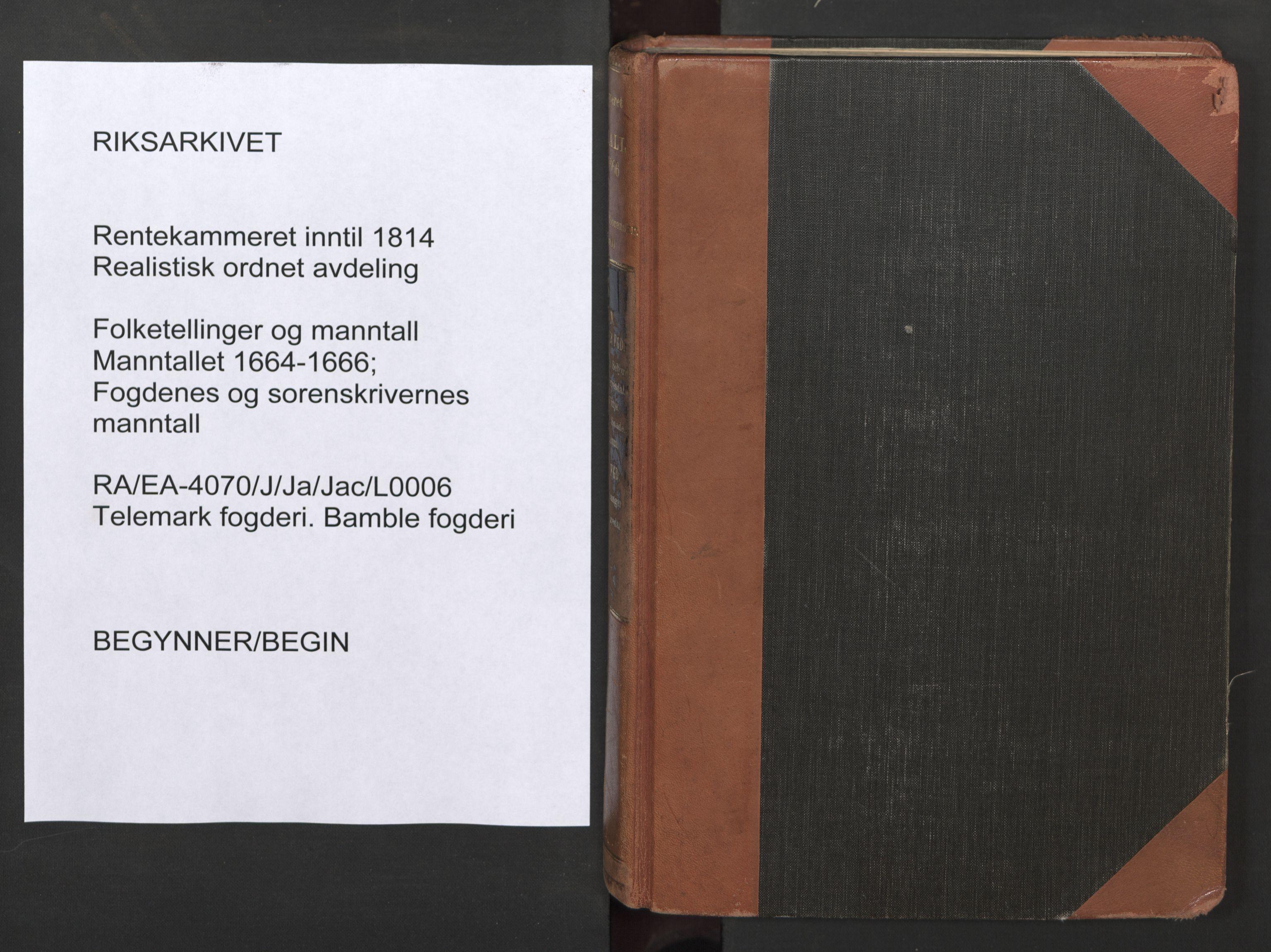 RA, Fogdenes og sorenskrivernes manntall 1664-1666, nr. 6: Øvre og Nedre Telemark fogderi og Bamble fogderi , 1664
