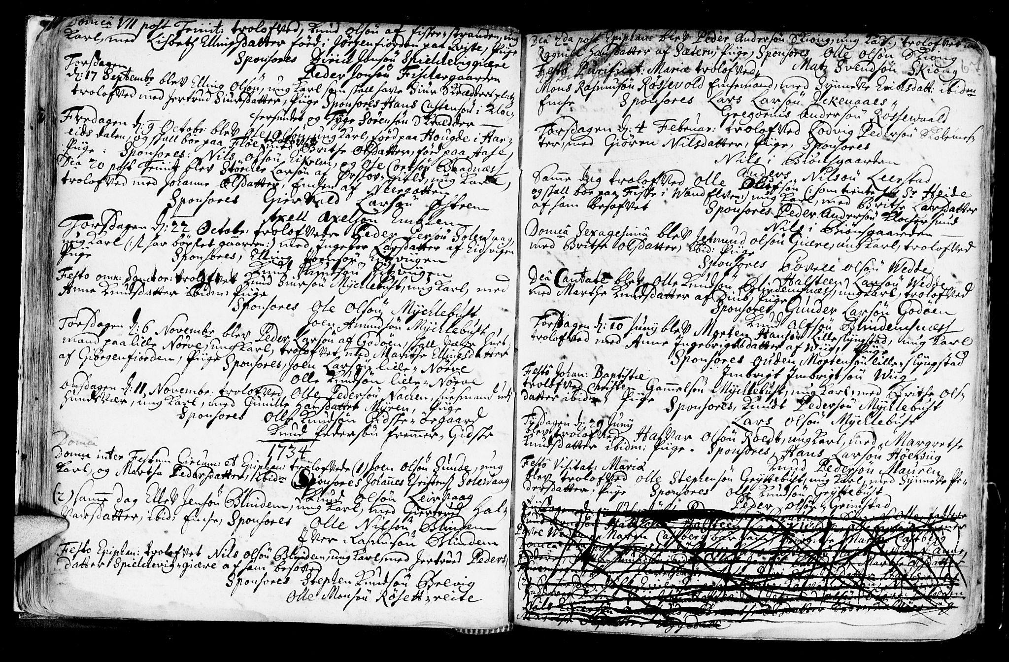 SAT, Ministerialprotokoller, klokkerbøker og fødselsregistre - Møre og Romsdal, 528/L0390: Ministerialbok nr. 528A01, 1698-1739, s. 66-67