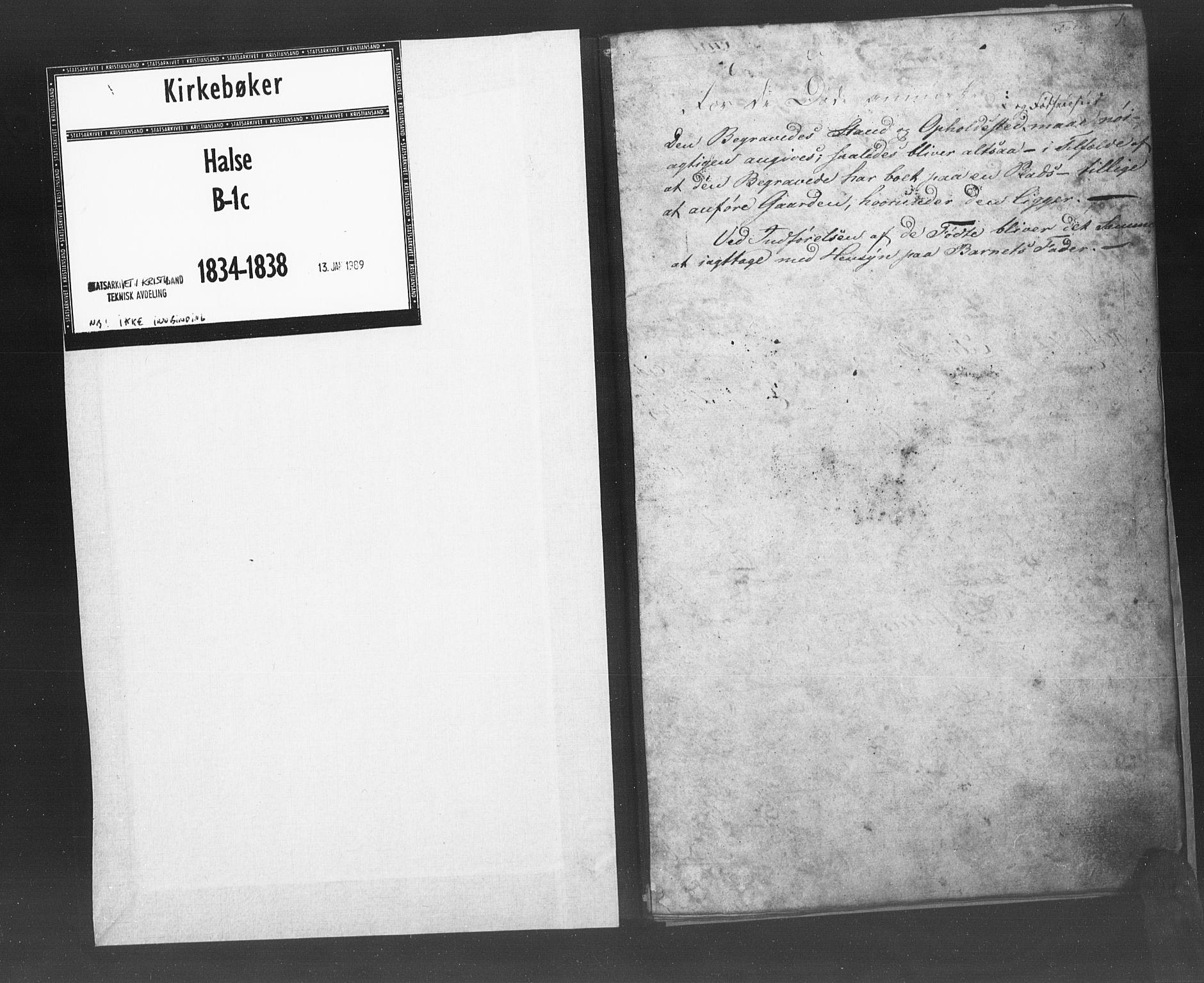 SAK, Mandal sokneprestkontor, F/Fb/Fba/L0003: Klokkerbok nr. B 1C, 1834-1838