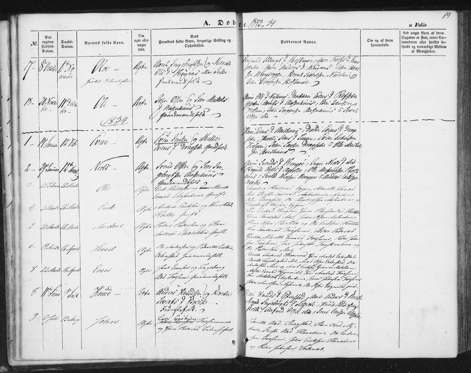 SAT, Ministerialprotokoller, klokkerbøker og fødselsregistre - Sør-Trøndelag, 689/L1038: Ministerialbok nr. 689A03, 1848-1872, s. 19