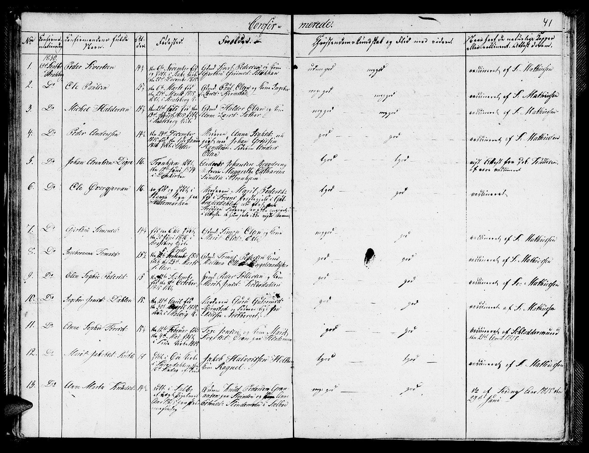 SAT, Ministerialprotokoller, klokkerbøker og fødselsregistre - Sør-Trøndelag, 608/L0337: Klokkerbok nr. 608C03, 1821-1831, s. 41
