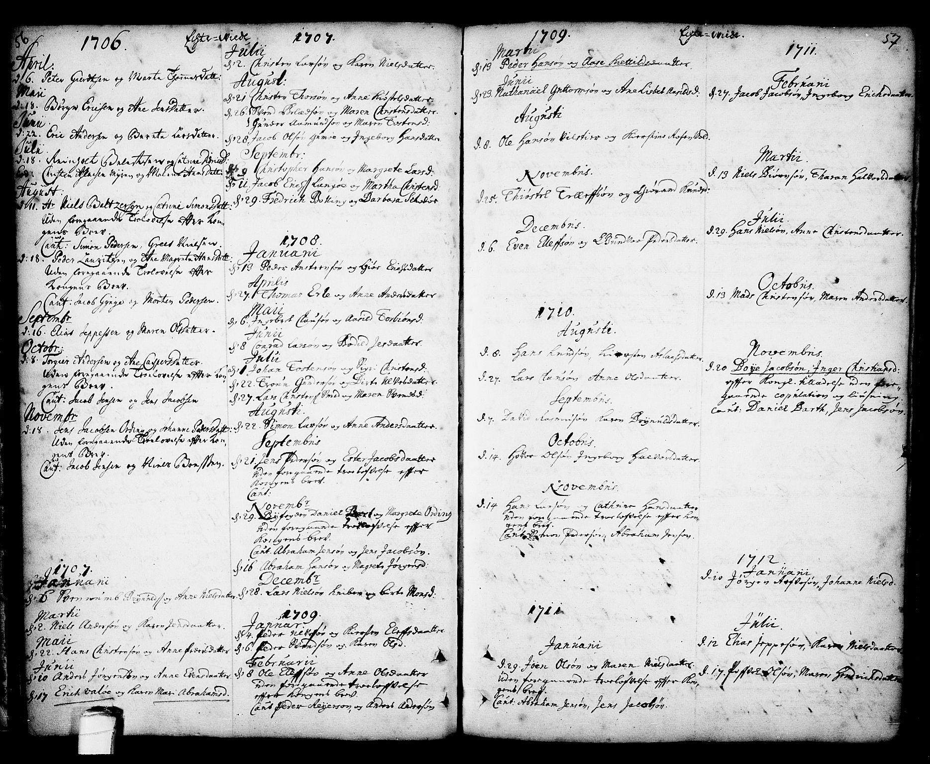 SAKO, Kragerø kirkebøker, F/Fa/L0001: Ministerialbok nr. 1, 1702-1766, s. 56-57