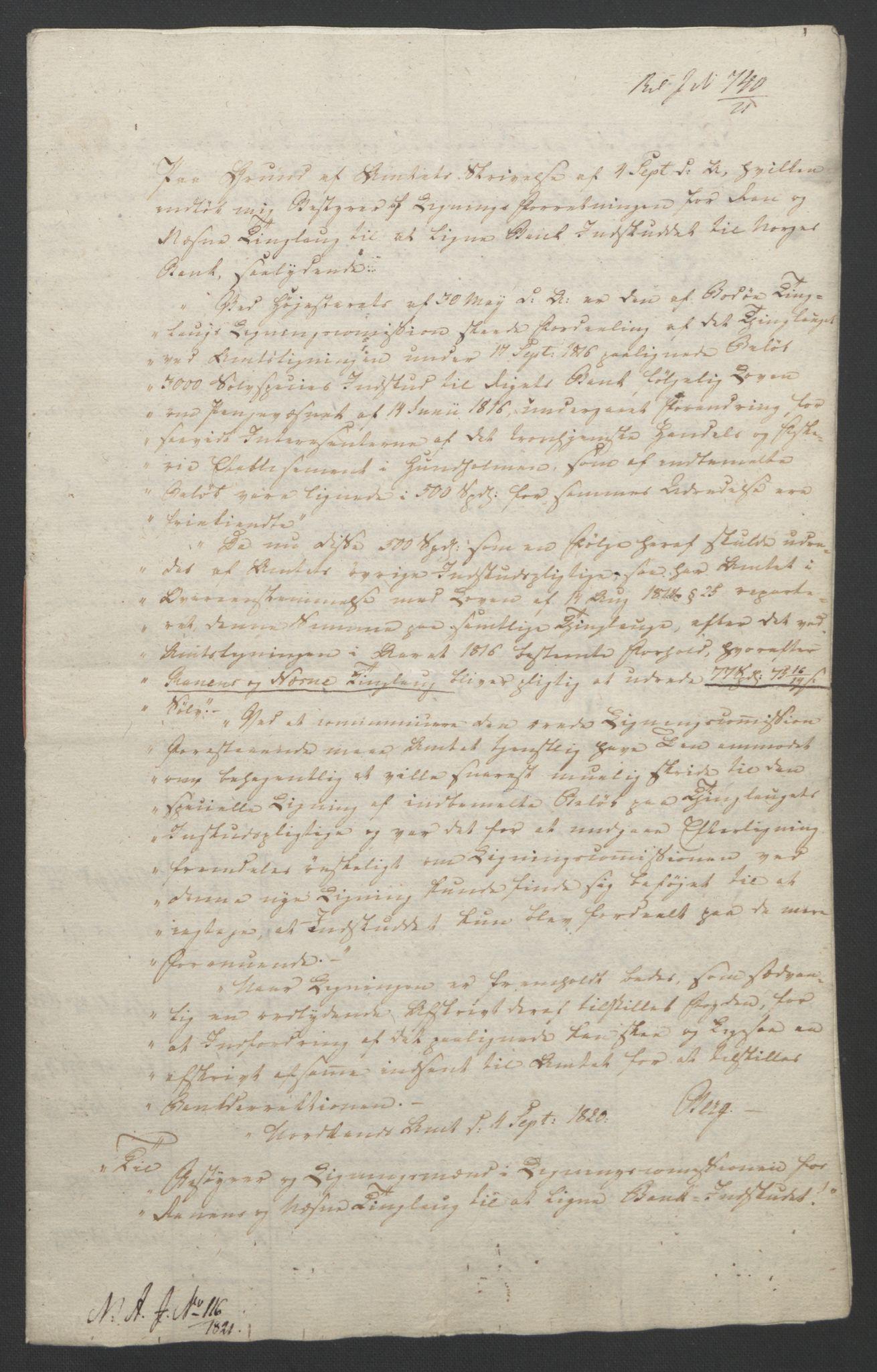 NOBA, Norges Bank/Sølvskatten 1816*, 1816-1823, s. 70