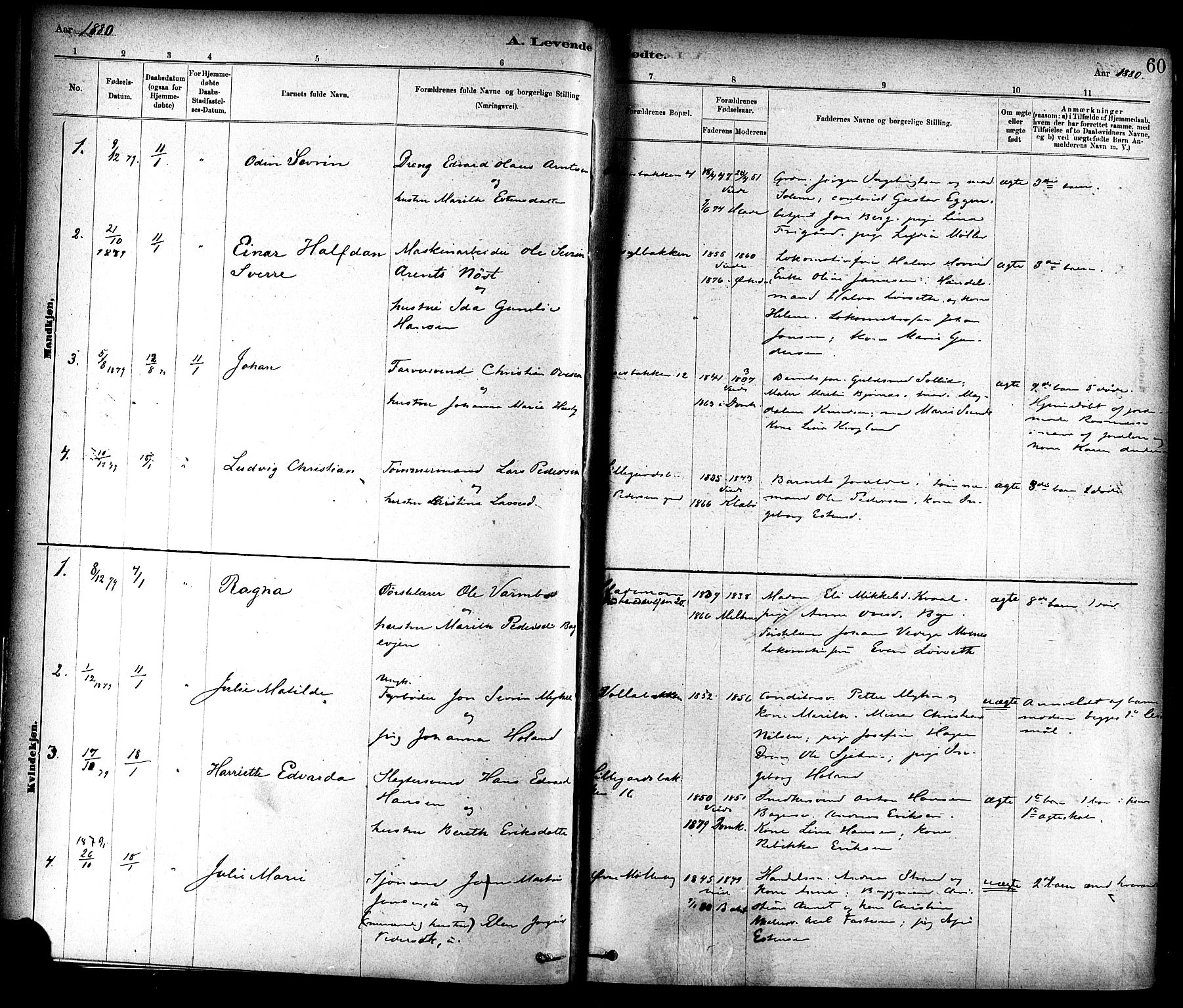 SAT, Ministerialprotokoller, klokkerbøker og fødselsregistre - Sør-Trøndelag, 604/L0188: Ministerialbok nr. 604A09, 1878-1892, s. 60