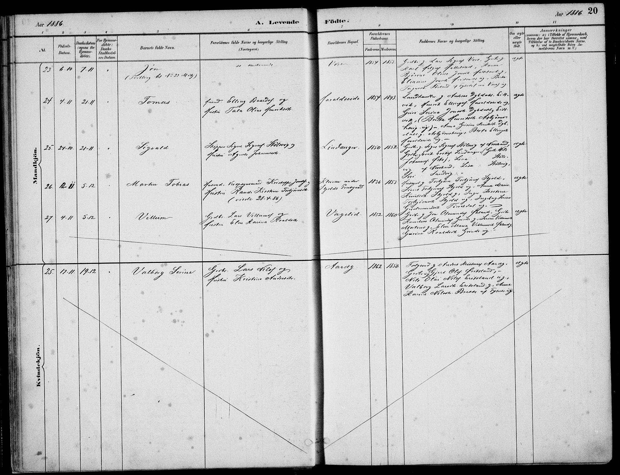 SAST, Skjold sokneprestkontor, H/Ha/Haa/L0010: Ministerialbok nr. A 10, 1882-1897, s. 20