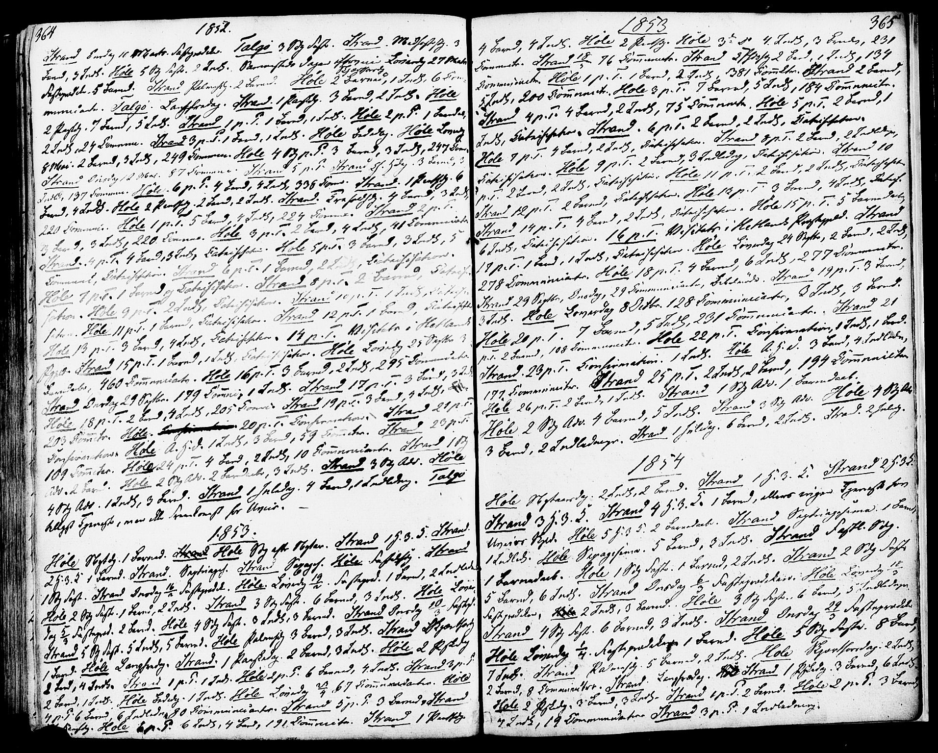 SAST, Strand sokneprestkontor, H/Ha/Haa/L0006: Ministerialbok nr. A 6, 1834-1854, s. 364-365