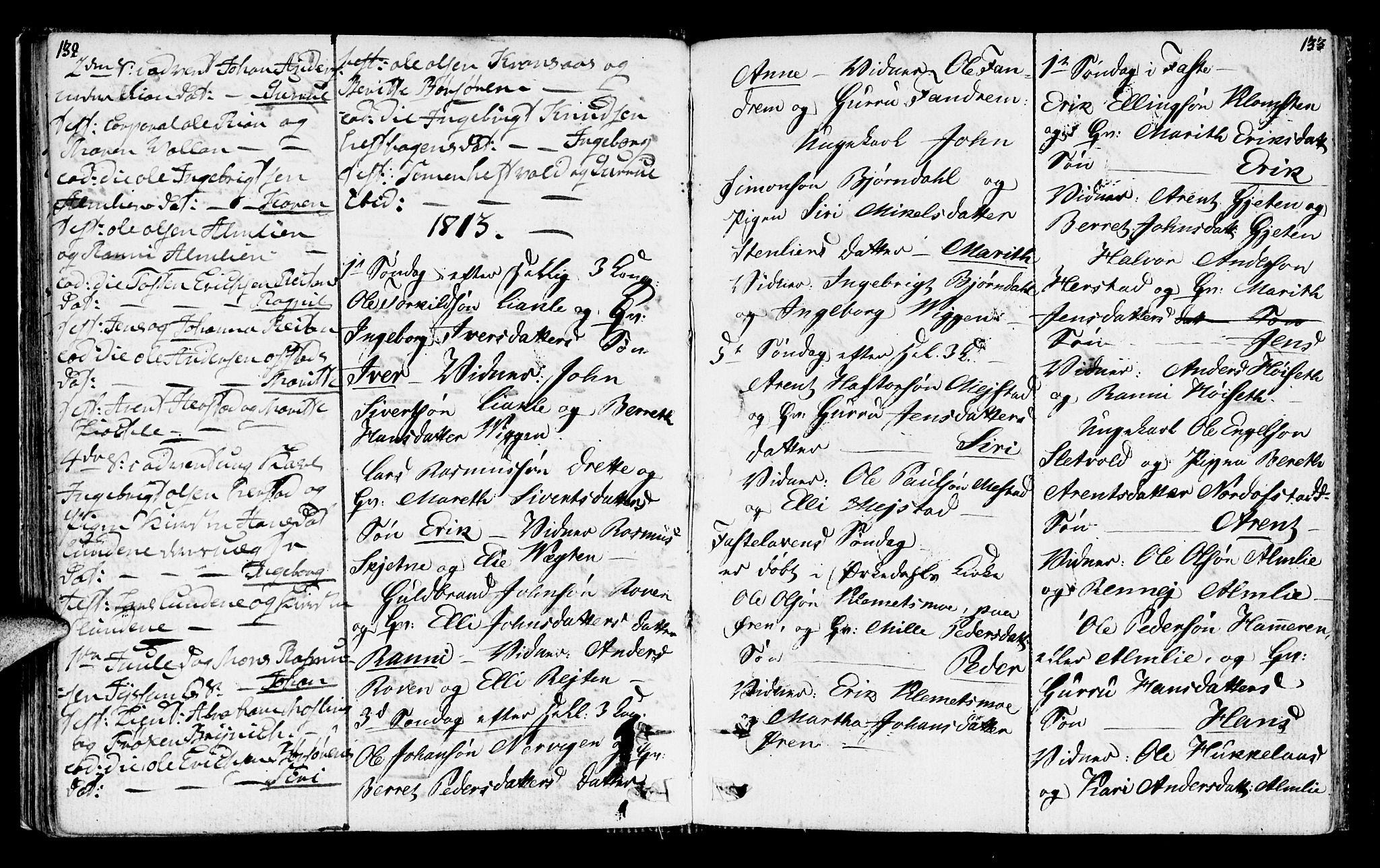 SAT, Ministerialprotokoller, klokkerbøker og fødselsregistre - Sør-Trøndelag, 665/L0769: Ministerialbok nr. 665A04, 1803-1816, s. 132-133