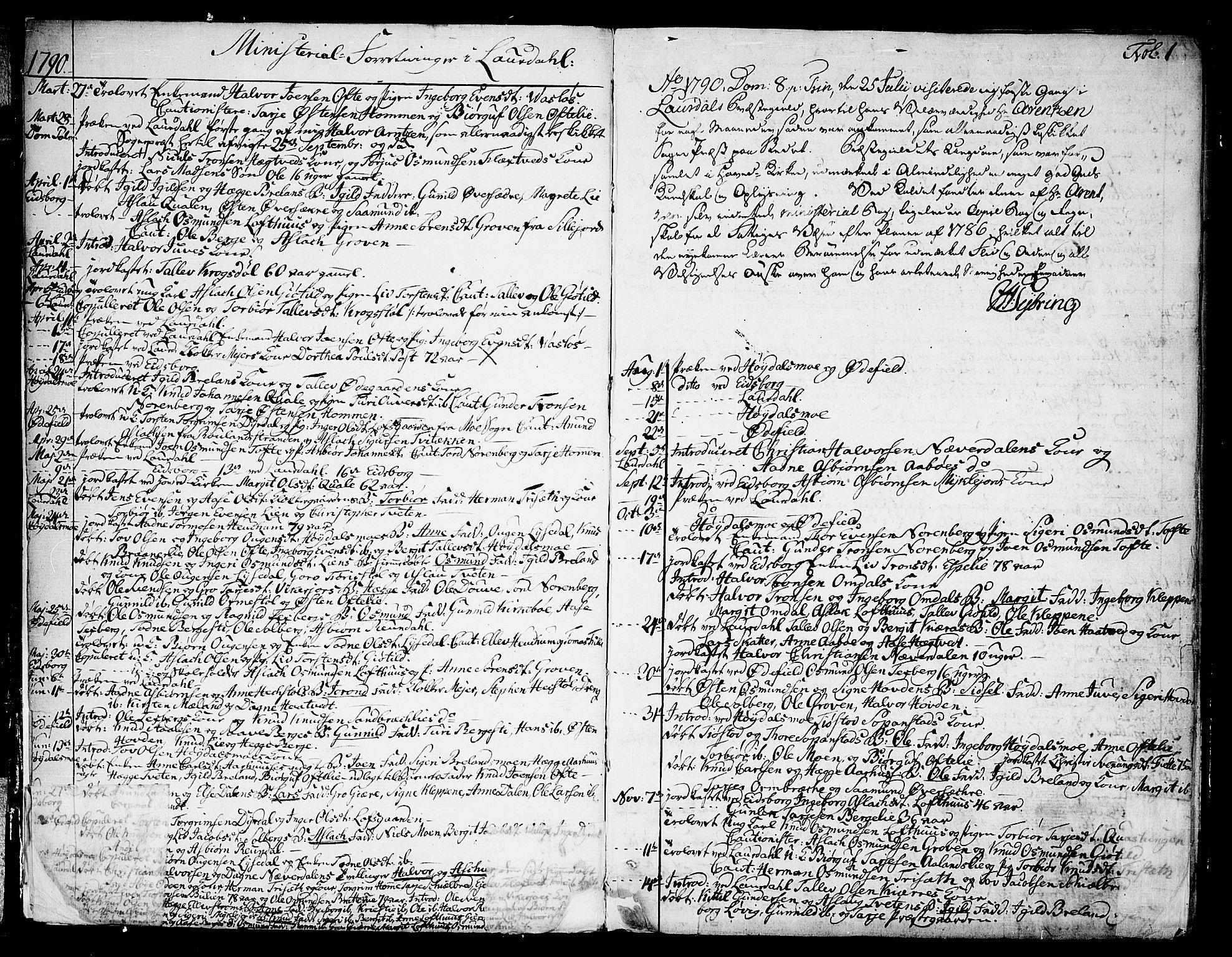 SAKO, Lårdal kirkebøker, F/Fa/L0004: Ministerialbok nr. I 4, 1790-1814, s. 1