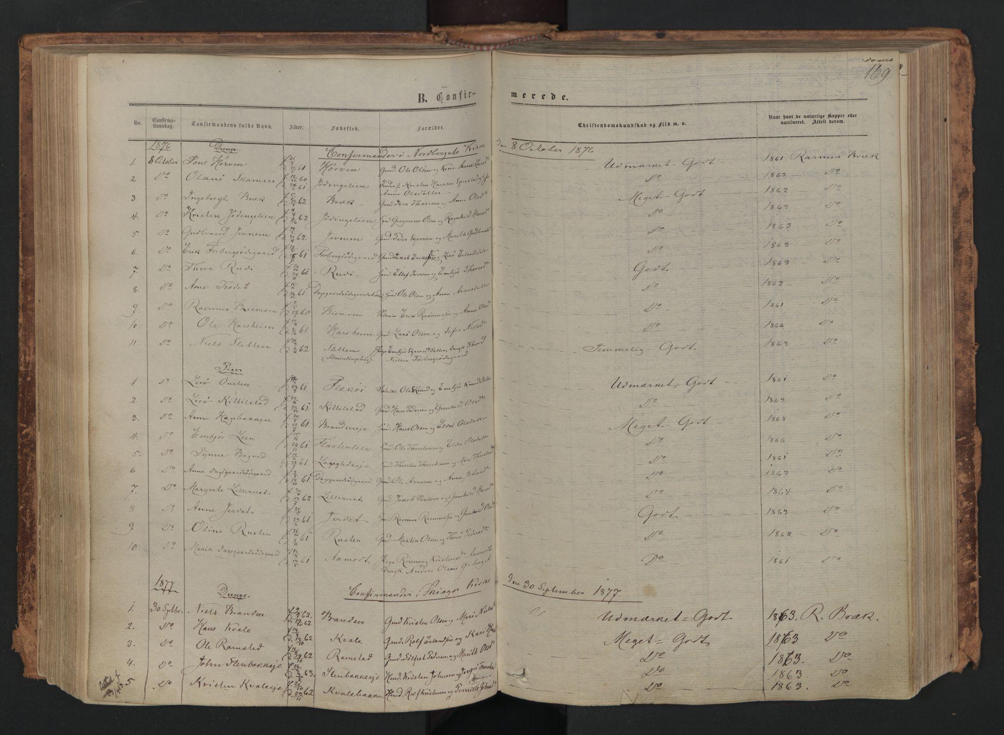 SAH, Skjåk prestekontor, Ministerialbok nr. 1, 1863-1879, s. 169