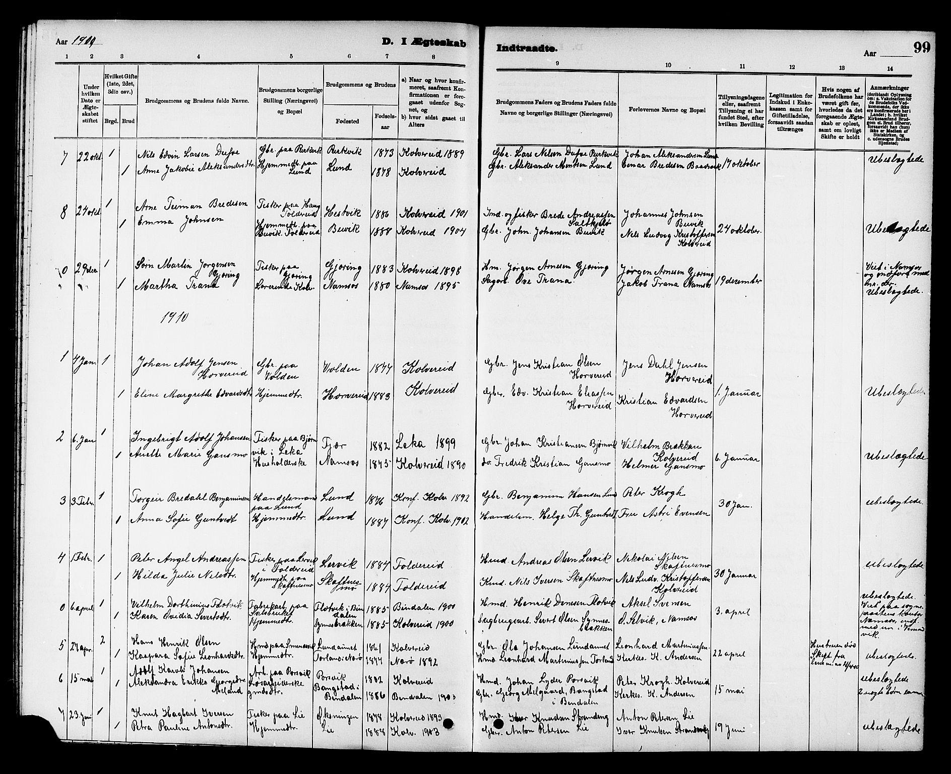 SAT, Ministerialprotokoller, klokkerbøker og fødselsregistre - Nord-Trøndelag, 780/L0652: Klokkerbok nr. 780C04, 1899-1911, s. 99