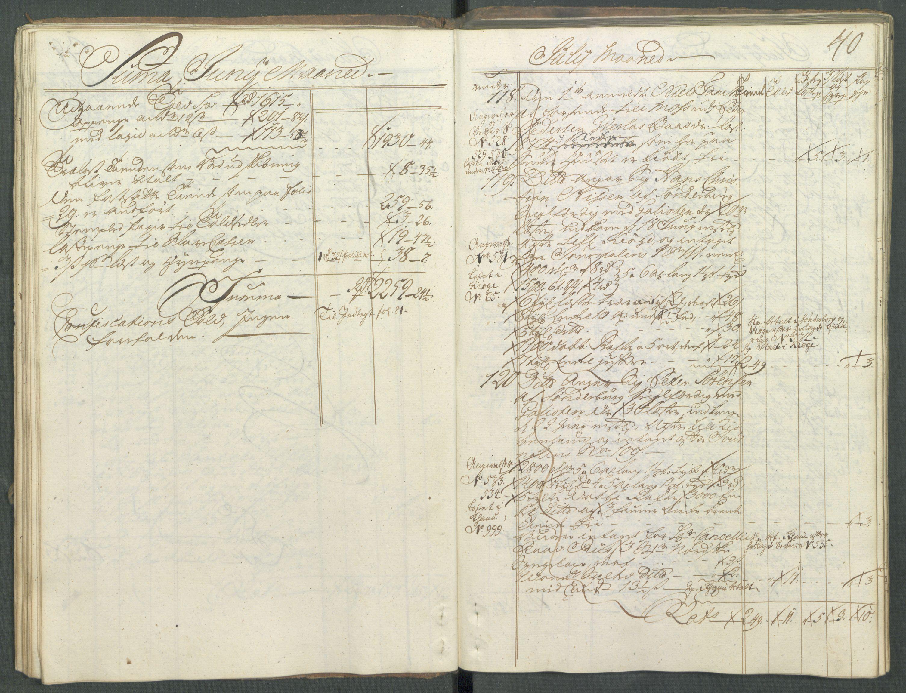 RA, Generaltollkammeret, tollregnskaper, R01/L0029: Tollregnskaper Fredrikshald, 1756, s. 39b-40a