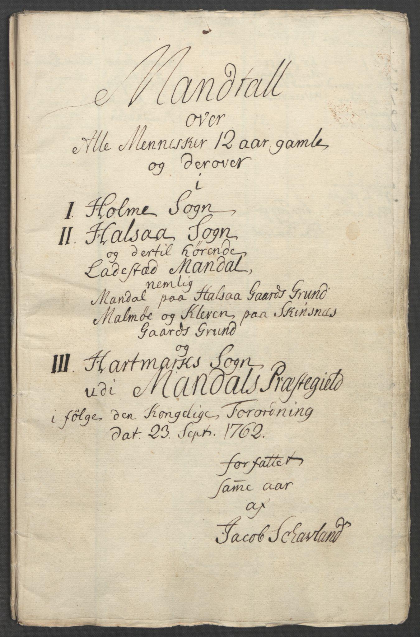 RA, Rentekammeret inntil 1814, Reviderte regnskaper, Fogderegnskap, R45/L2704: Ekstraskatten Lista og Mandal, 1762-1768, s. 23